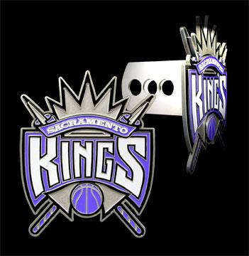 "Large Logo NBA Sacramento Kings Trailer Hitch Cover  - Show off your team pride with our large logo NBA Sacramento Kings hitch cover. The Large Logo NBA Sacramento Kings Trailer Hitch Cover logo is carved in detail and enameled in team colors.  Easy to install and fits Class II and Class III Hitches (plugs included).  Approximately 4 1/2"" x 5 1/2""."