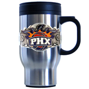 NBA Travel Mug - Phoenix Suns - This NBA Phoenix Suns stainless steel travel mug has a uniquely sculpted and enameled emblem that is designed to depict the bright lights of LA and the Lakers. Its 18-ounce capacity will keep your drink hot or cold wherever you may be.
