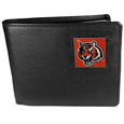 Cincinnati Bengals Leather Bi-fold Wallet Packaged in Gift Box