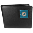 Miami Dolphins Leather Bi-fold Wallet Packaged in Gift Box