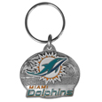 Miami Dolphins Oval Carved Metal Key Chain