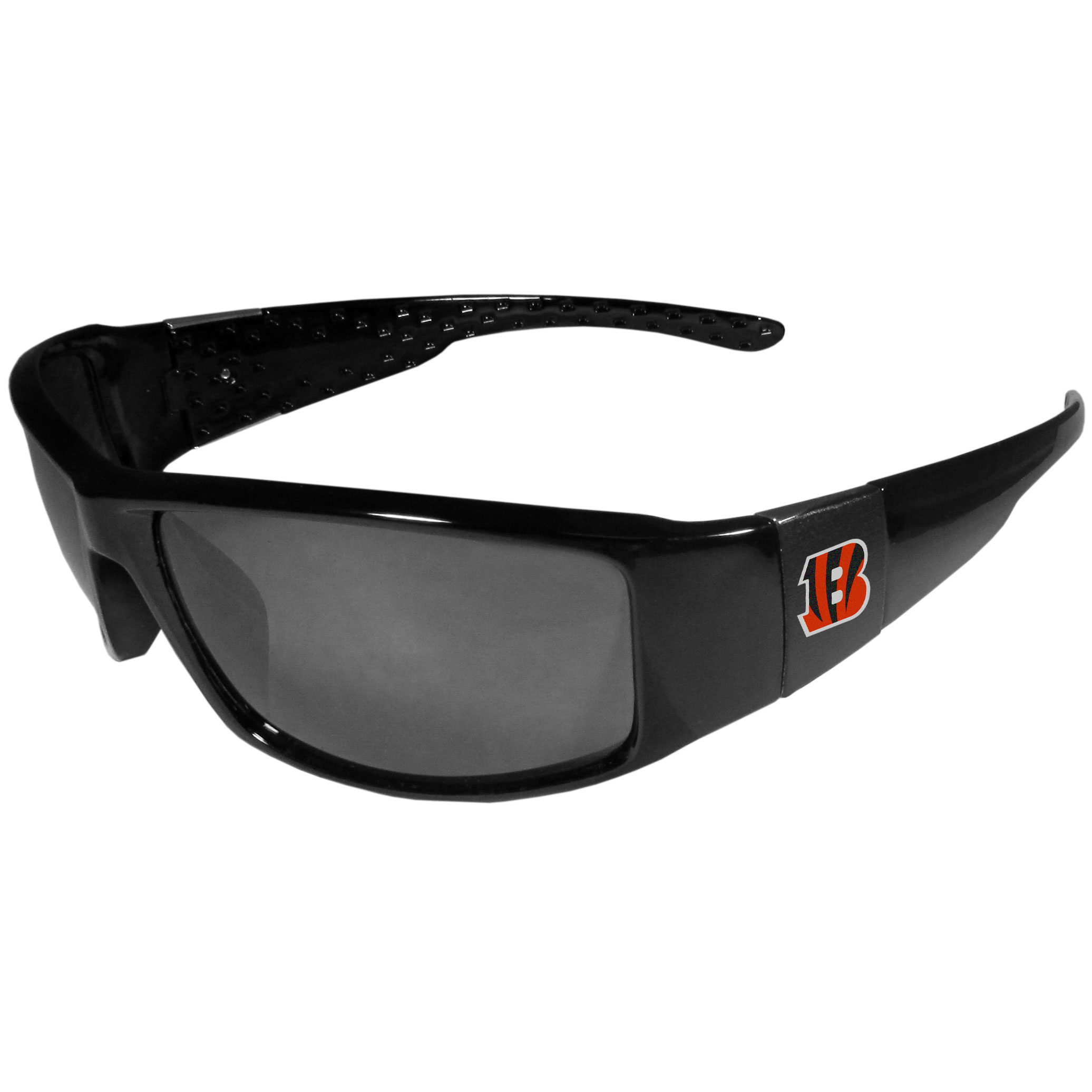Cincinnati Bengals Black Wrap Sunglasses - These designer inspired frames have a sleek look in all black with  Cincinnati Bengals shields on each arm with a printed logo. The shades are perfect for any outdoor activity like; golfing, driving, hiking, fishing or cheering on the team at a tailgating event or at a home game day BBQ with a lens rating of 100% UVA/UVB for maximum UV protection. The high-quality frames are as durable as they are fashionable and with their classic look they are the perfect fan accessory that can be worn everyday for every occasion.