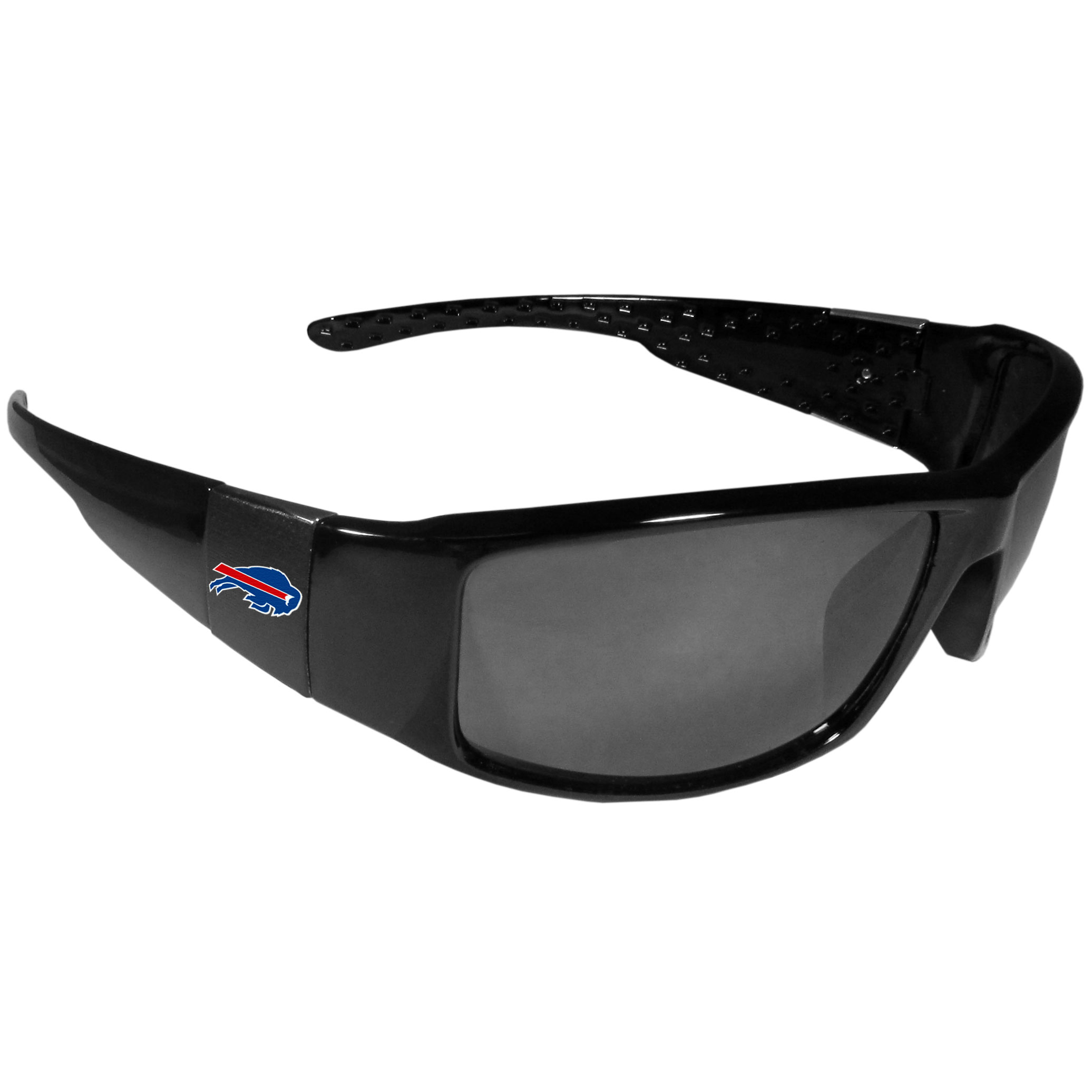 Buffalo Bills Black Wrap Sunglasses - These designer inspired frames have a sleek look in all black with  Buffalo Bills shields on each arm with a printed logo. The shades are perfect for any outdoor activity like; golfing, driving, hiking, fishing or cheering on the team at a tailgating event or at a home game day BBQ with a lens rating of 100% UVA/UVB for maximum UV protection. The high-quality frames are as durable as they are fashionable and with their classic look they are the perfect fan accessory that can be worn everyday for every occasion.