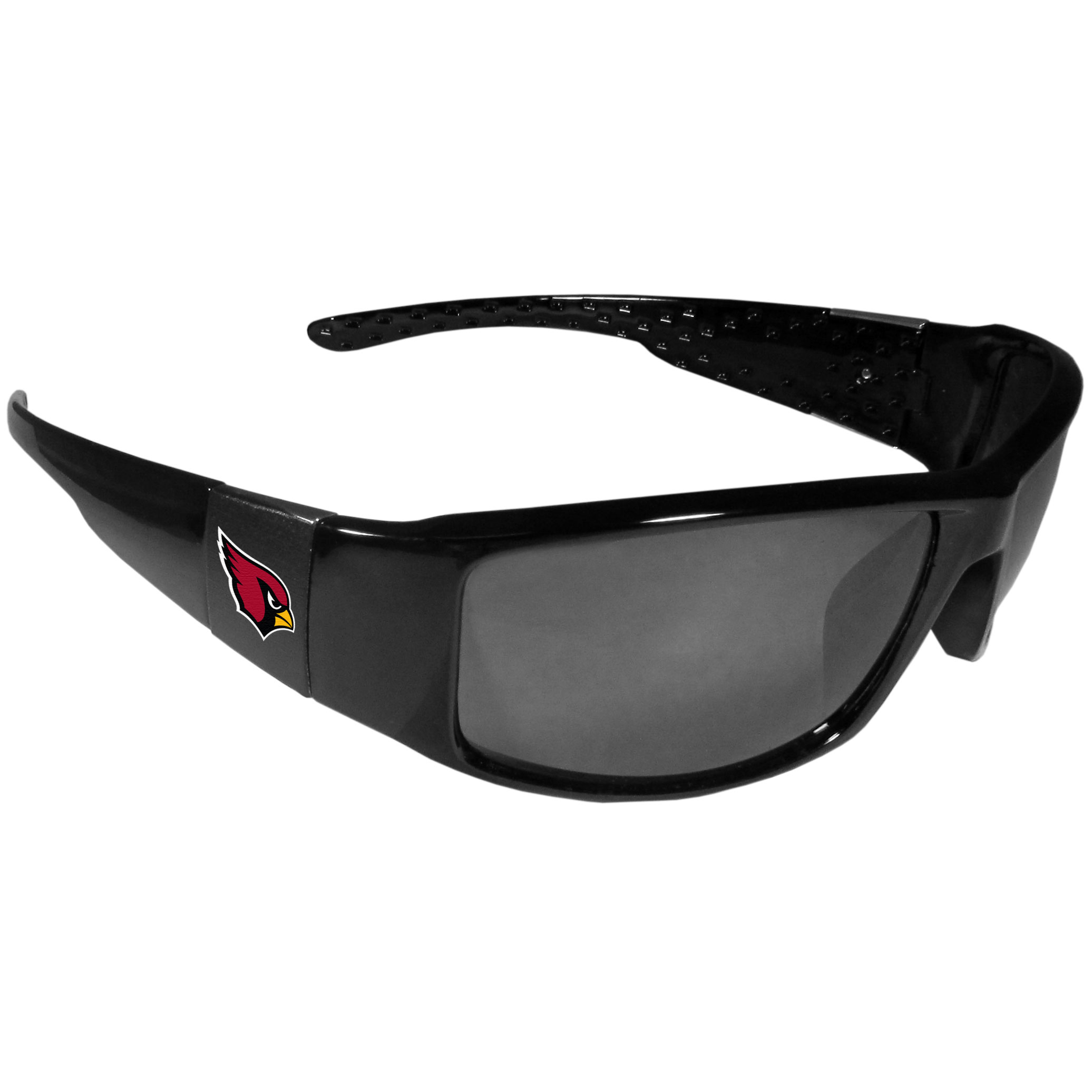 Arizona Cardinals Black Wrap Sunglasses - These designer inspired frames have a sleek look in all black with  Arizona Cardinals shields on each arm with a printed logo. The shades are perfect for any outdoor activity like; golfing, driving, hiking, fishing or cheering on the team at a tailgating event or at a home game day BBQ with a lens rating of 100% UVA/UVB for maximum UV protection. The high-quality frames are as durable as they are fashionable and with their classic look they are the perfect fan accessory that can be worn everyday for every occasion.