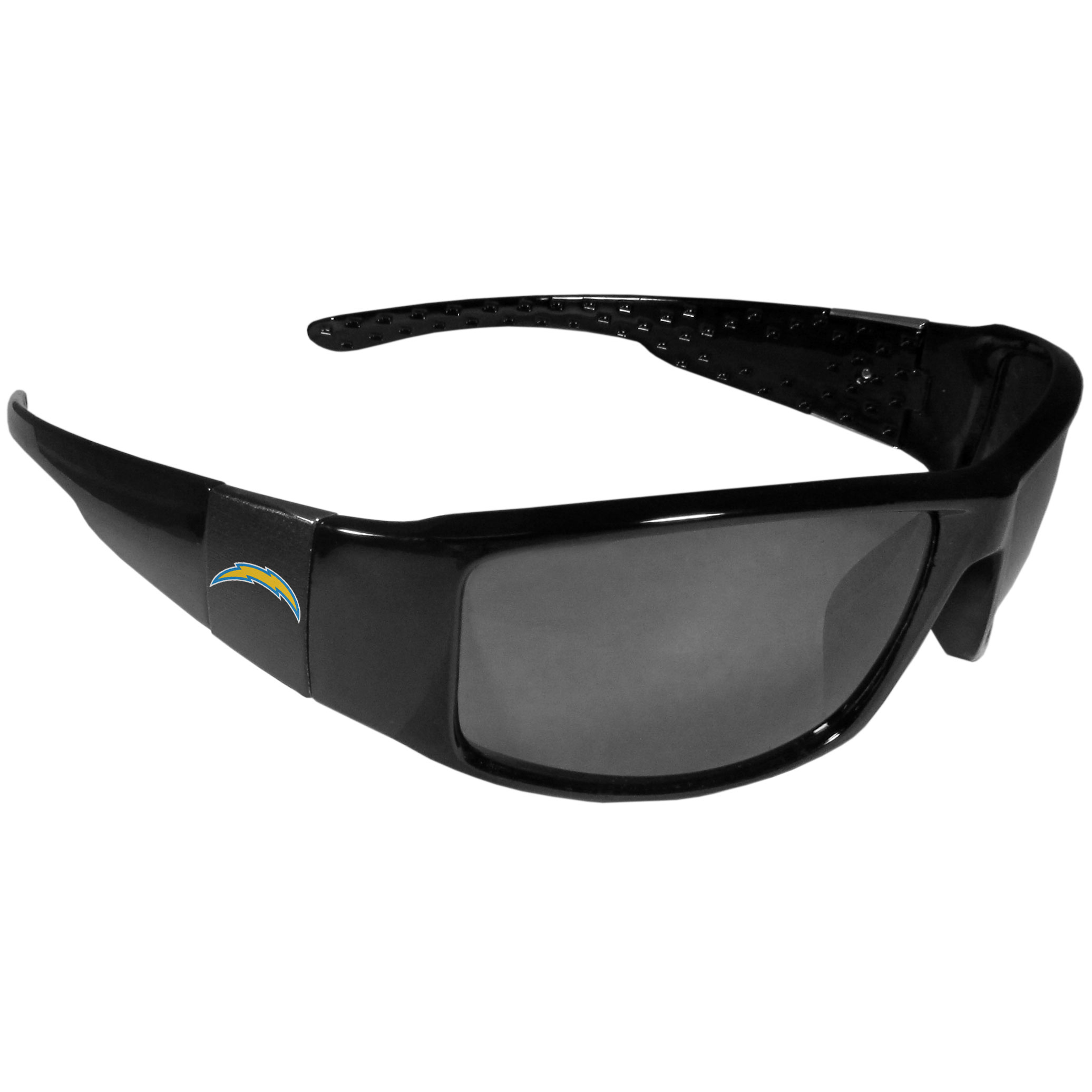 Los Angeles Chargers Black Wrap Sunglasses - These designer inspired frames have a sleek look in all black with  Los Angeles Chargers shields on each arm with a printed logo. The shades are perfect for any outdoor activity like; golfing, driving, hiking, fishing or cheering on the team at a tailgating event or at a home game day BBQ with a lens rating of 100% UVA/UVB for maximum UV protection. The high-quality frames are as durable as they are fashionable and with their classic look they are the perfect fan accessory that can be worn everyday for every occasion.