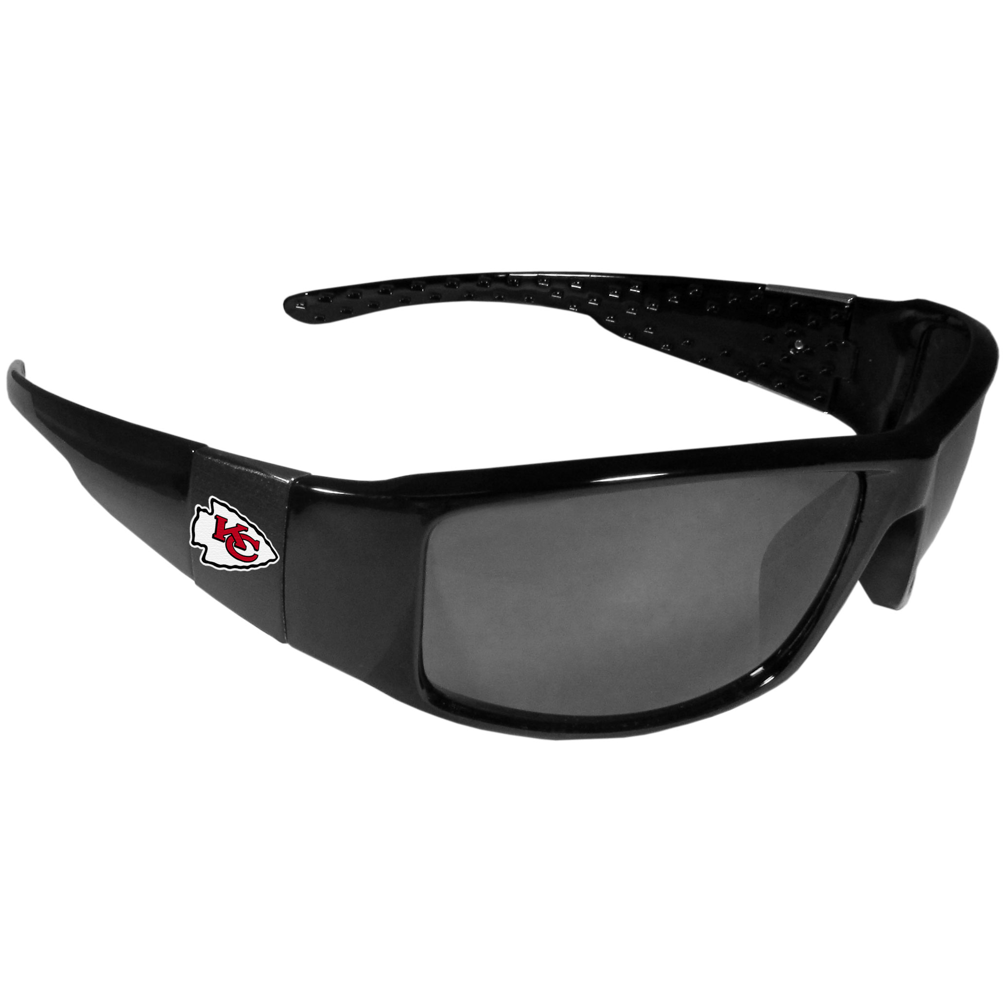 Kansas City Chiefs Black Wrap Sunglasses - These designer inspired frames have a sleek look in all black with  Kansas City Chiefs shields on each arm with a printed logo. The shades are perfect for any outdoor activity like; golfing, driving, hiking, fishing or cheering on the team at a tailgating event or at a home game day BBQ with a lens rating of 100% UVA/UVB for maximum UV protection. The high-quality frames are as durable as they are fashionable and with their classic look they are the perfect fan accessory that can be worn everyday for every occasion.