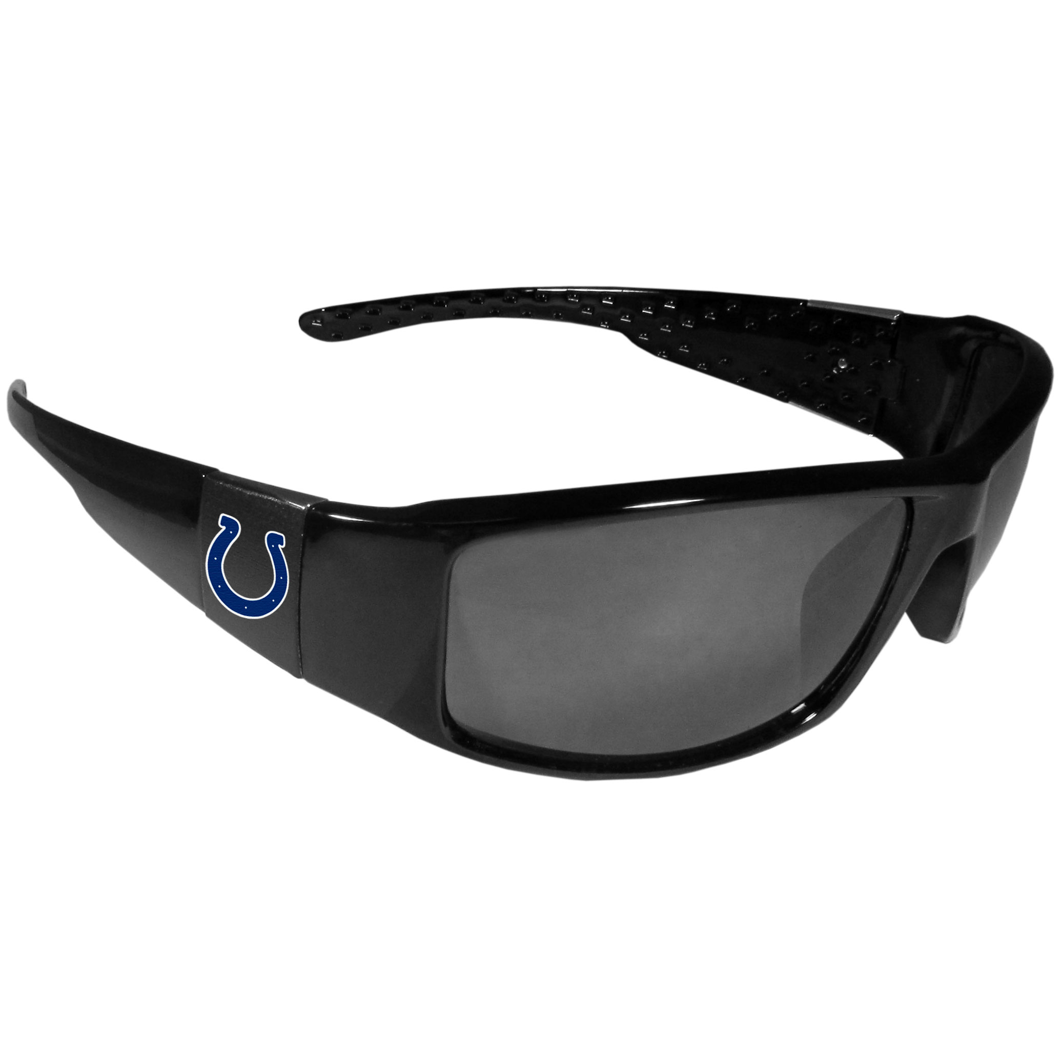 Indianapolis Colts Black Wrap Sunglasses - These designer inspired frames have a sleek look in all black with  Indianapolis Colts shields on each arm with a printed logo. The shades are perfect for any outdoor activity like; golfing, driving, hiking, fishing or cheering on the team at a tailgating event or at a home game day BBQ with a lens rating of 100% UVA/UVB for maximum UV protection. The high-quality frames are as durable as they are fashionable and with their classic look they are the perfect fan accessory that can be worn everyday for every occasion.