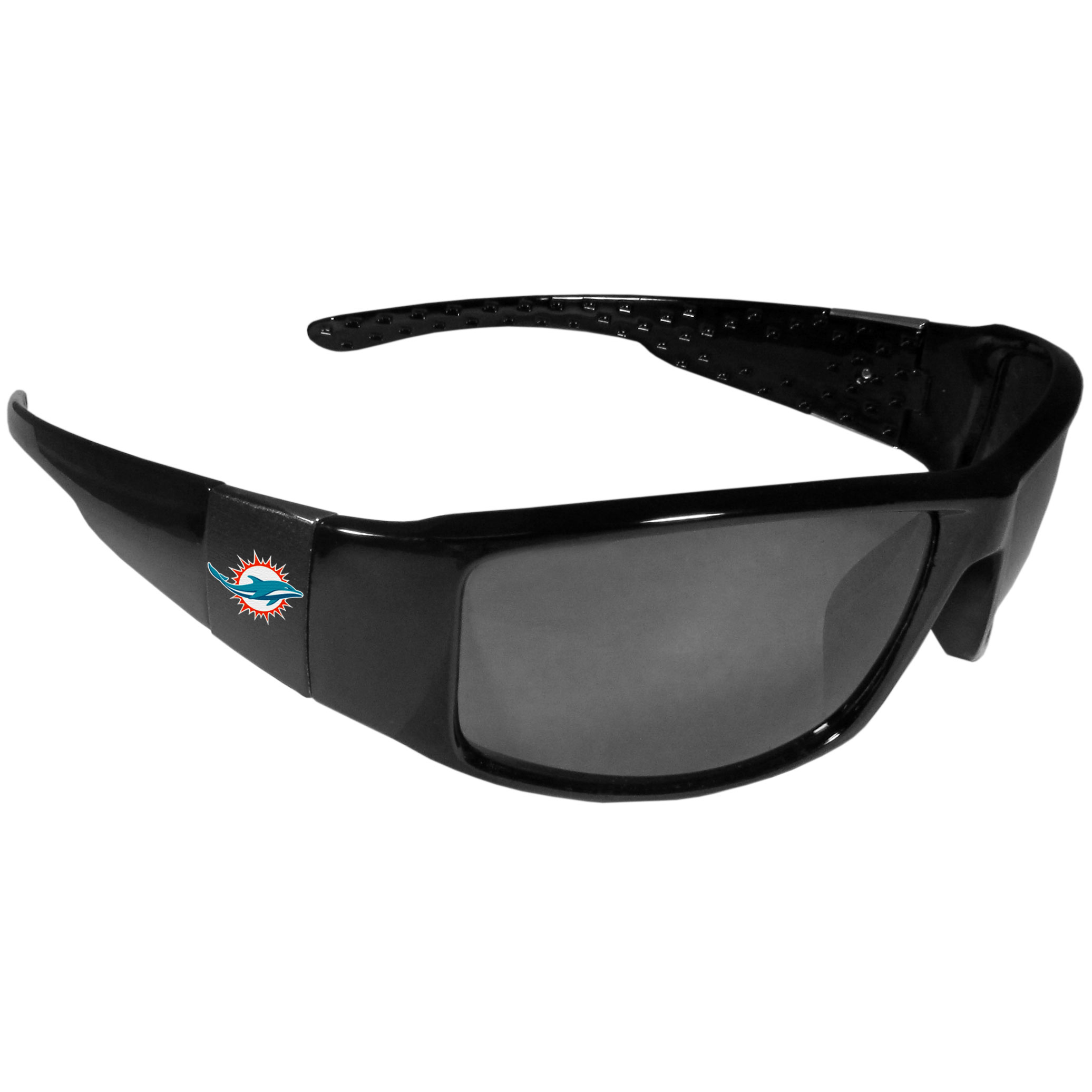 Miami Dolphins Black Wrap Sunglasses - These designer inspired frames have a sleek look in all black with  Miami Dolphins shields on each arm with a printed logo. The shades are perfect for any outdoor activity like; golfing, driving, hiking, fishing or cheering on the team at a tailgating event or at a home game day BBQ with a lens rating of 100% UVA/UVB for maximum UV protection. The high-quality frames are as durable as they are fashionable and with their classic look they are the perfect fan accessory that can be worn everyday for every occasion.