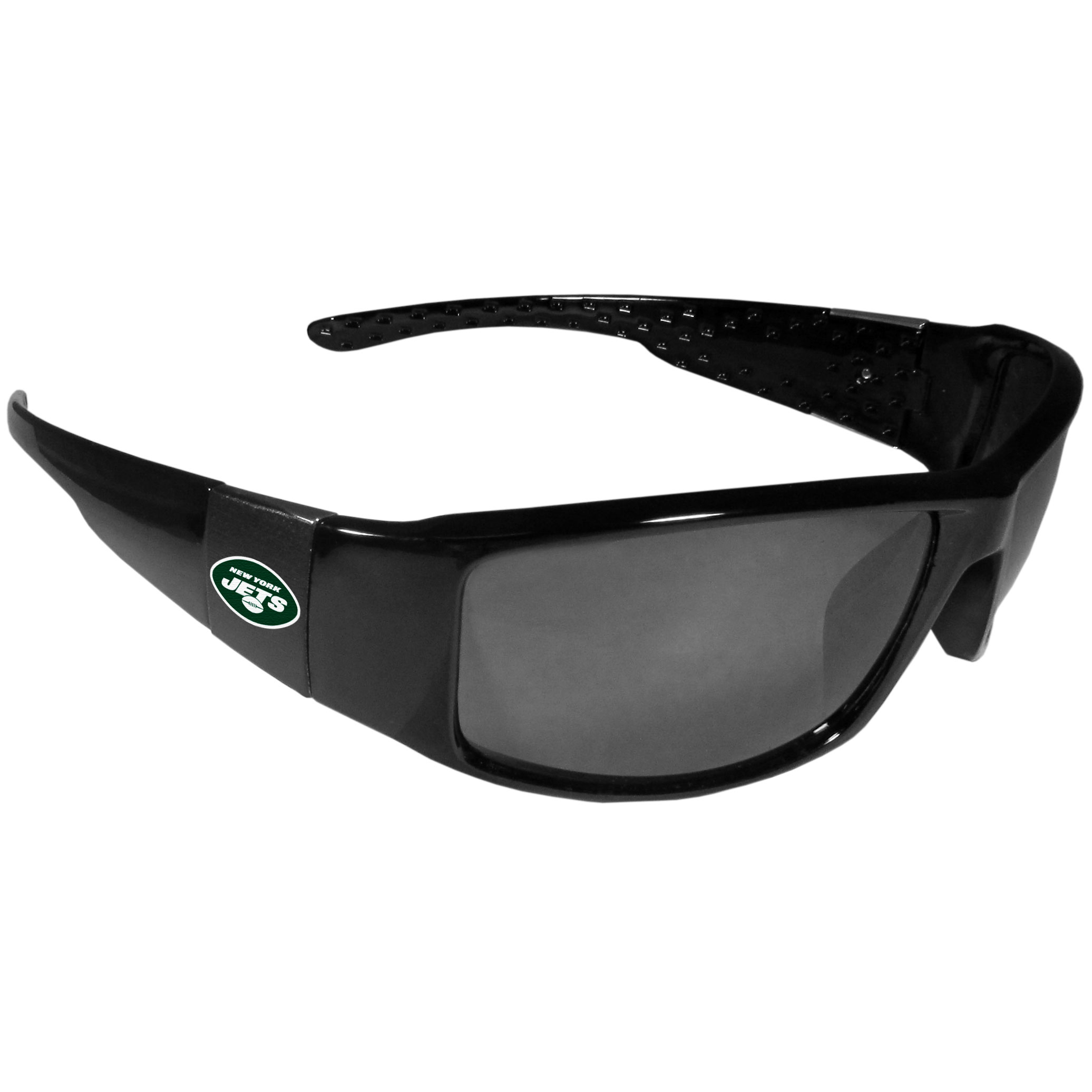 New York Jets Black Wrap Sunglasses - These designer inspired frames have a sleek look in all black with  New York Jets shields on each arm with a printed logo. The shades are perfect for any outdoor activity like; golfing, driving, hiking, fishing or cheering on the team at a tailgating event or at a home game day BBQ with a lens rating of 100% UVA/UVB for maximum UV protection. The high-quality frames are as durable as they are fashionable and with their classic look they are the perfect fan accessory that can be worn everyday for every occasion.