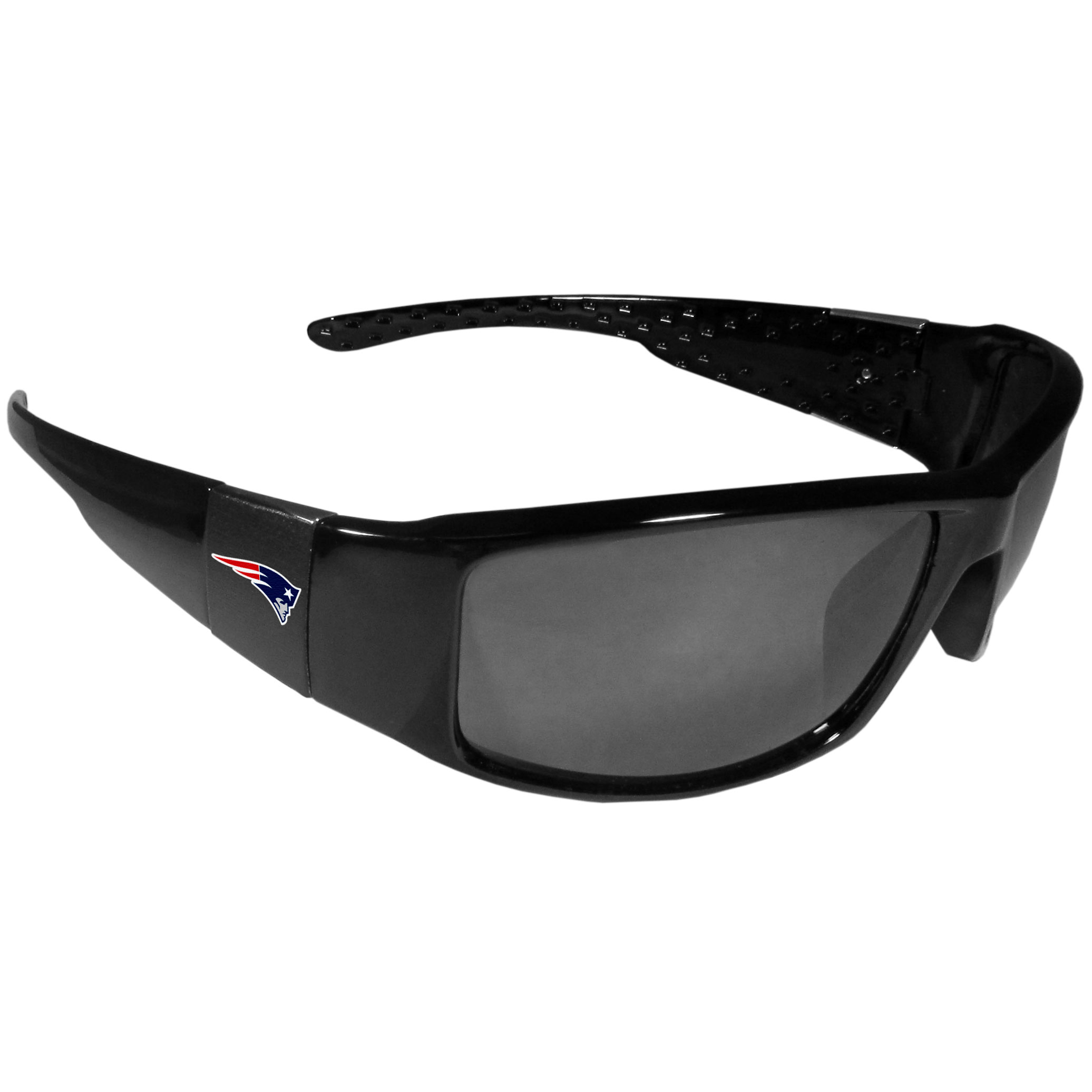 New England Patriots Black Wrap Sunglasses - These designer inspired frames have a sleek look in all black with  New England Patriots shields on each arm with a printed logo. The shades are perfect for any outdoor activity like; golfing, driving, hiking, fishing or cheering on the team at a tailgating event or at a home game day BBQ with a lens rating of 100% UVA/UVB for maximum UV protection. The high-quality frames are as durable as they are fashionable and with their classic look they are the perfect fan accessory that can be worn everyday for every occasion.
