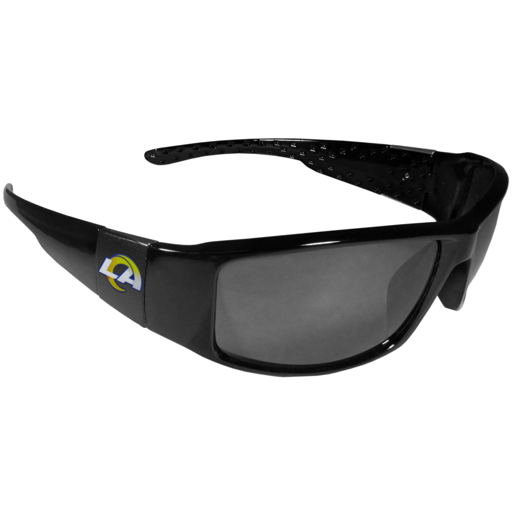 Los Angeles Rams Black Wrap Sunglasses - These designer inspired frames have a sleek look in all black with  Los Angeles Rams shields on each arm with a printed logo. The shades are perfect for any outdoor activity like; golfing, driving, hiking, fishing or cheering on the team at a tailgating event or at a home game day BBQ with a lens rating of 100% UVA/UVB for maximum UV protection. The high-quality frames are as durable as they are fashionable and with their classic look they are the perfect fan accessory that can be worn everyday for every occasion.