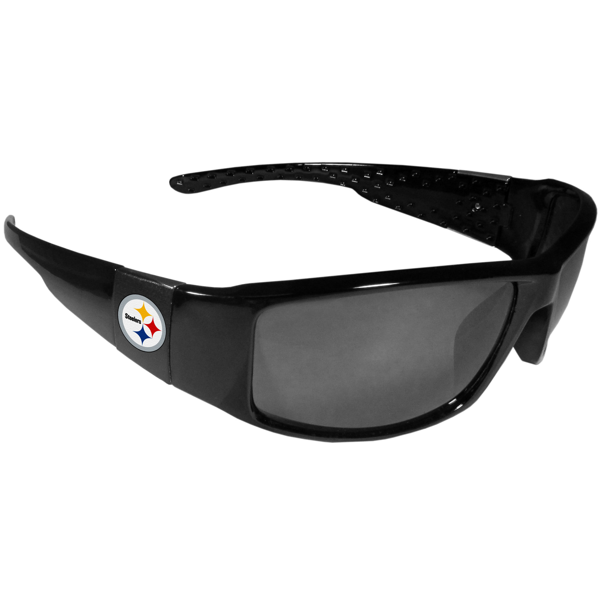 Pittsburgh Steelers Black Wrap Sunglasses - These designer inspired frames have a sleek look in all black with  Pittsburgh Steelers shields on each arm with a printed logo. The shades are perfect for any outdoor activity like; golfing, driving, hiking, fishing or cheering on the team at a tailgating event or at a home game day BBQ with a lens rating of 100% UVA/UVB for maximum UV protection. The high-quality frames are as durable as they are fashionable and with their classic look they are the perfect fan accessory that can be worn everyday for every occasion.
