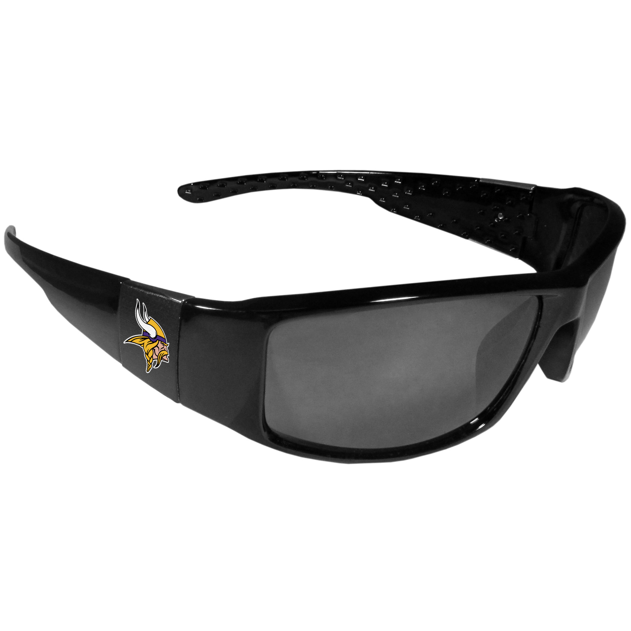 Minnesota Vikings Black Wrap Sunglasses - These designer inspired frames have a sleek look in all black with  Minnesota Vikings shields on each arm with a printed logo. The shades are perfect for any outdoor activity like; golfing, driving, hiking, fishing or cheering on the team at a tailgating event or at a home game day BBQ with a lens rating of 100% UVA/UVB for maximum UV protection. The high-quality frames are as durable as they are fashionable and with their classic look they are the perfect fan accessory that can be worn everyday for every occasion.