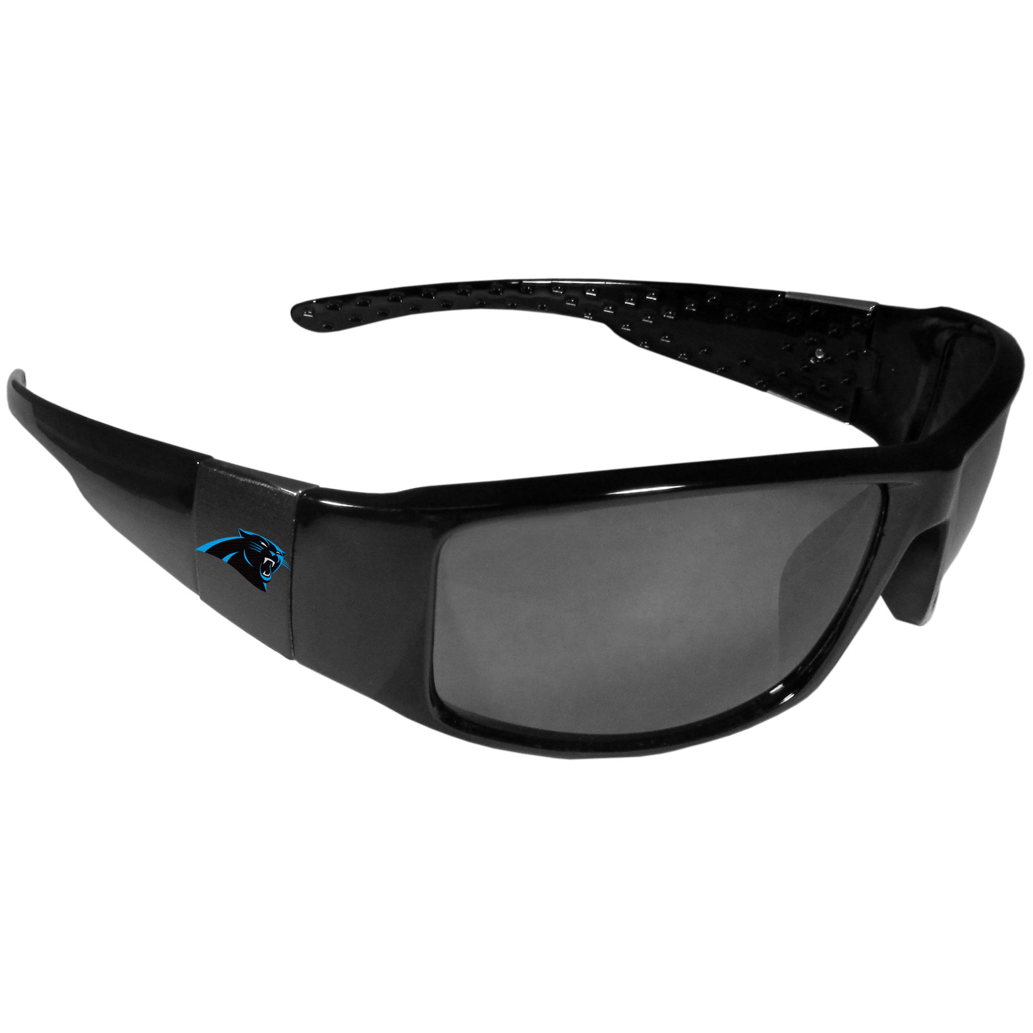 Carolina Panthers Black Wrap Sunglasses - These designer inspired frames have a sleek look in all black with  Carolina Panthers shields on each arm with a printed logo. The shades are perfect for any outdoor activity like; golfing, driving, hiking, fishing or cheering on the team at a tailgating event or at a home game day BBQ with a lens rating of 100% UVA/UVB for maximum UV protection. The high-quality frames are as durable as they are fashionable and with their classic look they are the perfect fan accessory that can be worn everyday for every occasion.