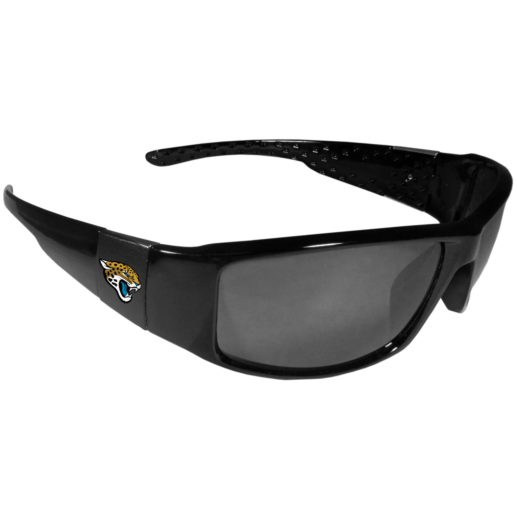 Jacksonville Jaguars Black Wrap Sunglasses - These designer inspired frames have a sleek look in all black with  Jacksonville Jaguars shields on each arm with a printed logo. The shades are perfect for any outdoor activity like; golfing, driving, hiking, fishing or cheering on the team at a tailgating event or at a home game day BBQ with a lens rating of 100% UVA/UVB for maximum UV protection. The high-quality frames are as durable as they are fashionable and with their classic look they are the perfect fan accessory that can be worn everyday for every occasion.