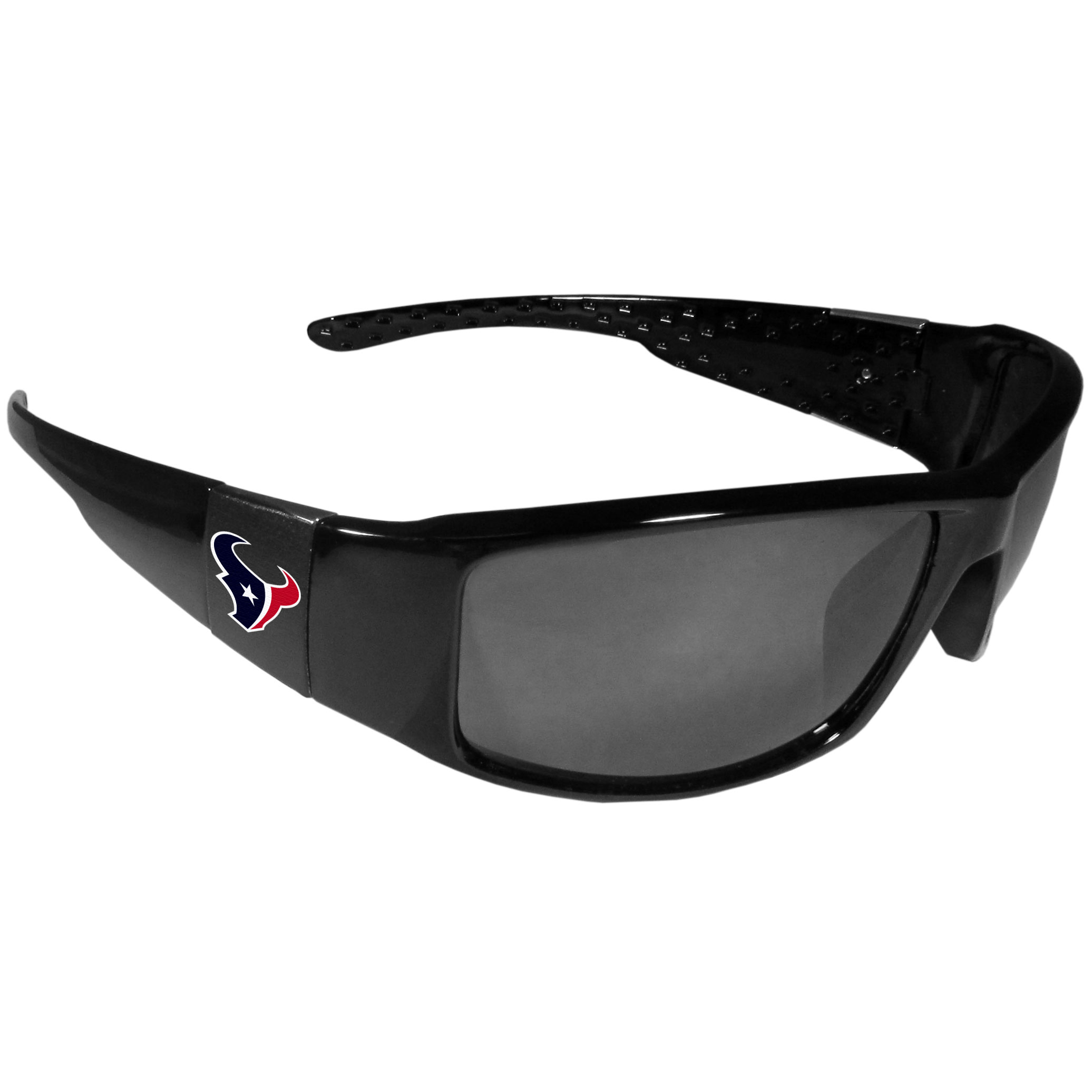 Houston Texans Black Wrap Sunglasses - These designer inspired frames have a sleek look in all black with  Houston Texans shields on each arm with a printed logo. The shades are perfect for any outdoor activity like; golfing, driving, hiking, fishing or cheering on the team at a tailgating event or at a home game day BBQ with a lens rating of 100% UVA/UVB for maximum UV protection. The high-quality frames are as durable as they are fashionable and with their classic look they are the perfect fan accessory that can be worn everyday for every occasion.