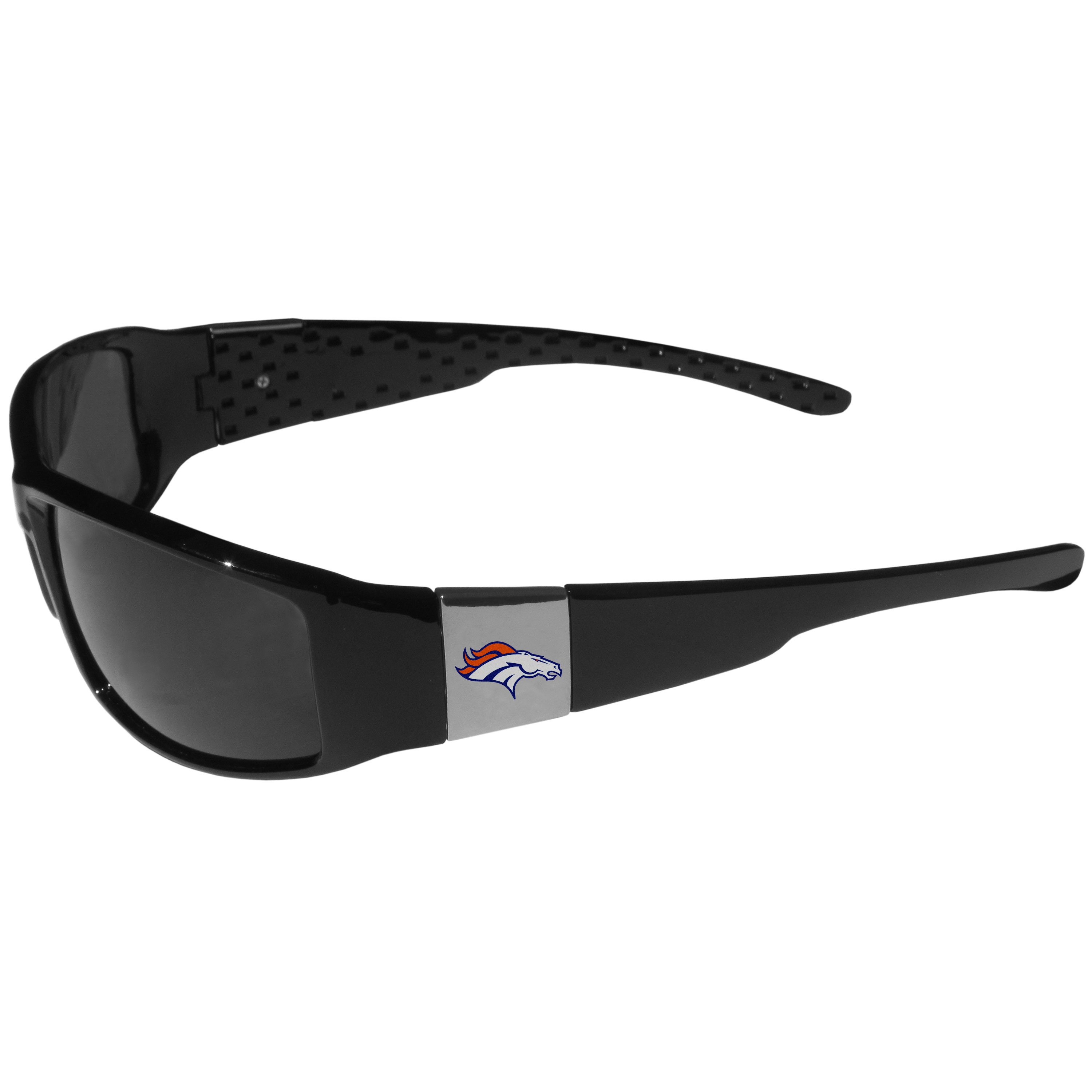 Denver Broncos Chrome Wrap Sunglasses - These designer inspired frames have a sleek look in all black with high-polish chrome Denver Broncos shields on each arm with a printed logo. The shades are perfect for any outdoor activity like; golfing, driving, hiking, fishing or cheering on the team at a tailgating event or at a home game day BBQ with a lens rating of 100% UVA/UVB for maximum UV protection. The high-quality frames are as durable as they are fashionable and with their classic look they are the perfect fan accessory that can be worn everyday for every occasion.