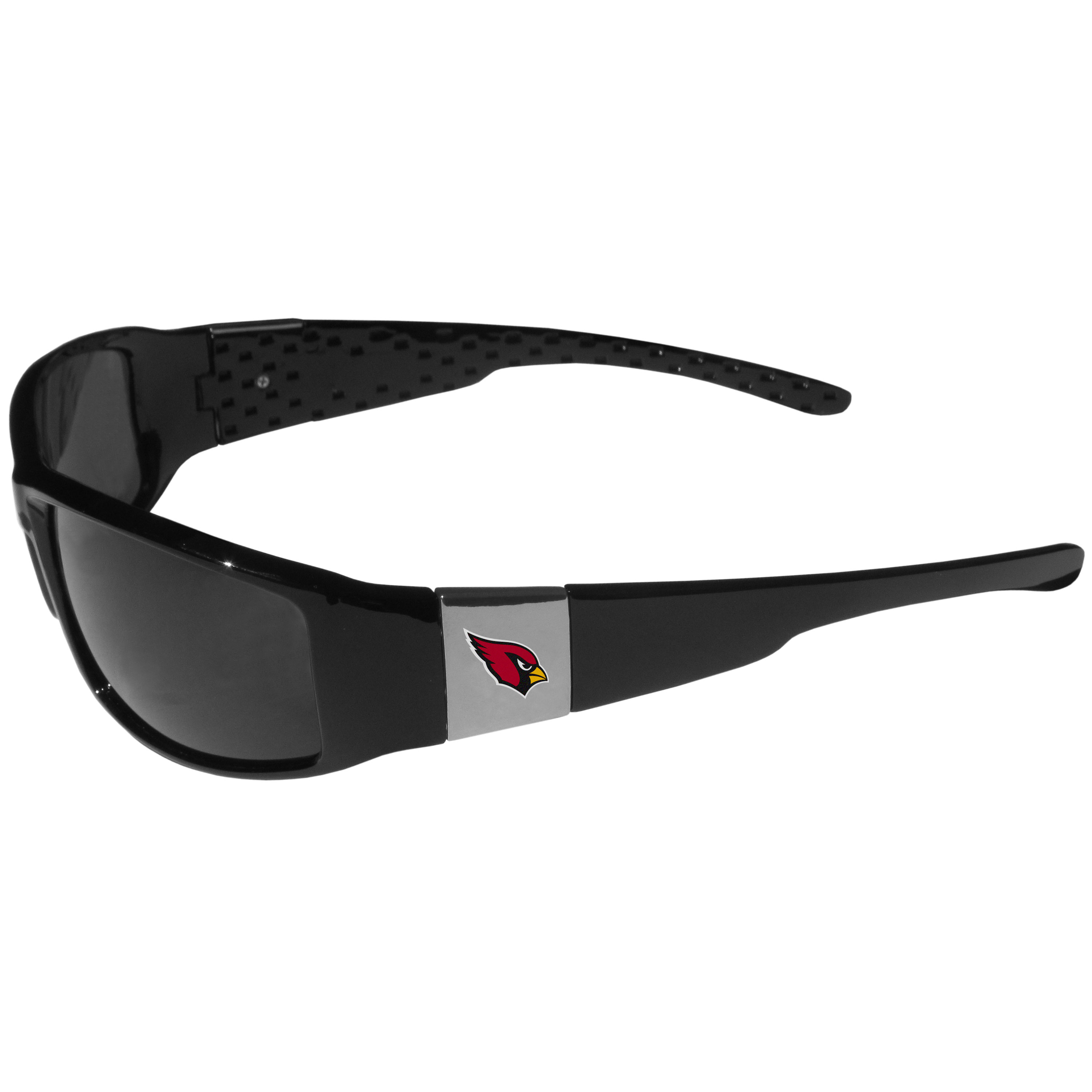 Arizona Cardinals Chrome Wrap Sunglasses - These designer inspired frames have a sleek look in all black with high-polish chrome Arizona Cardinals shields on each arm with a printed logo. The shades are perfect for any outdoor activity like; golfing, driving, hiking, fishing or cheering on the team at a tailgating event or at a home game day BBQ with a lens rating of 100% UVA/UVB for maximum UV protection. The high-quality frames are as durable as they are fashionable and with their classic look they are the perfect fan accessory that can be worn everyday for every occasion.