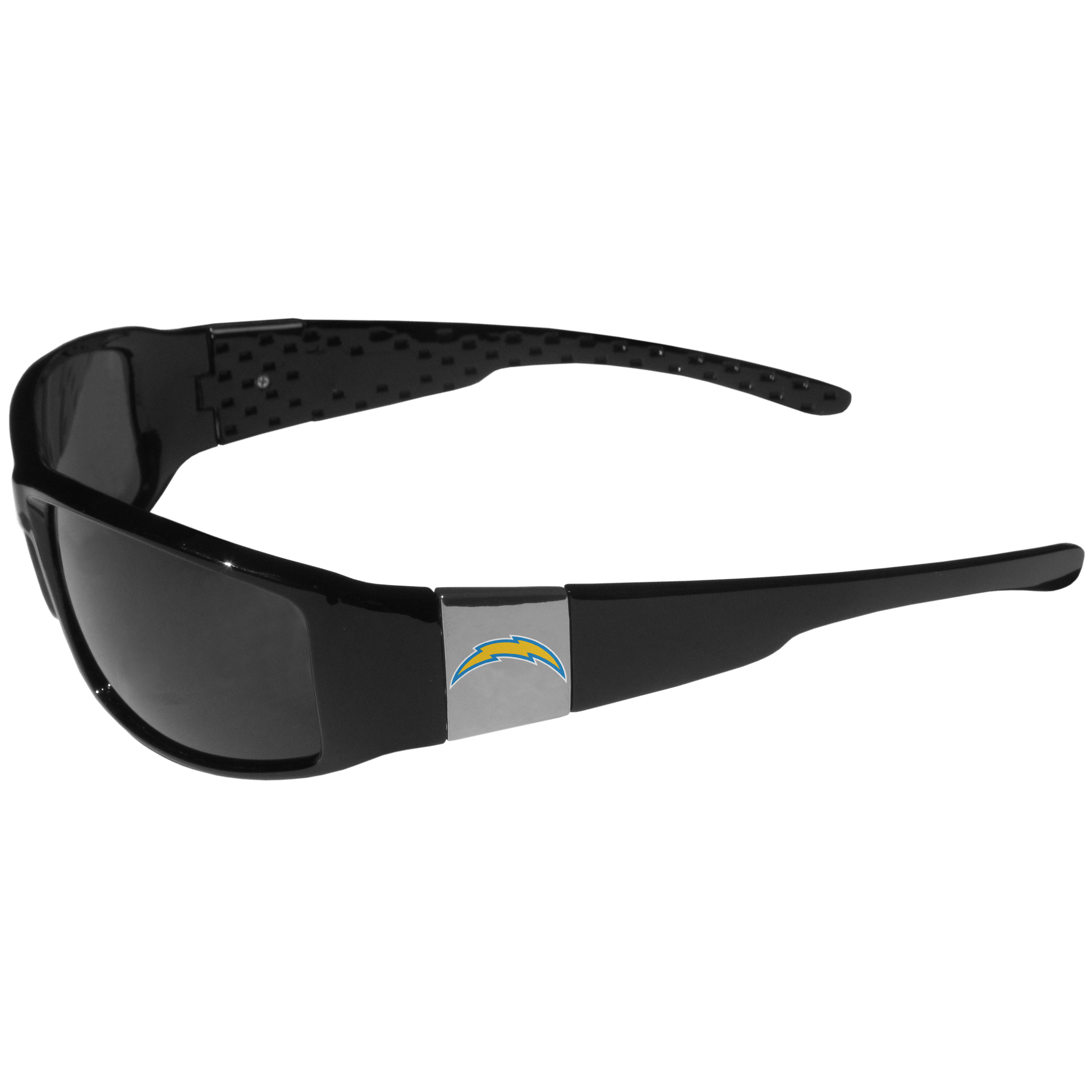 Los Angeles Chargers Chrome Wrap Sunglasses - These designer inspired frames have a sleek look in all black with high-polish chrome Los Angeles Chargers shields on each arm with a printed logo. The shades are perfect for any outdoor activity like; golfing, driving, hiking, fishing or cheering on the team at a tailgating event or at a home game day BBQ with a lens rating of 100% UVA/UVB for maximum UV protection. The high-quality frames are as durable as they are fashionable and with their classic look they are the perfect fan accessory that can be worn everyday for every occasion.