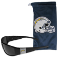 Los Angeles Chargers Chrome Wrap Sunglasses and Bag