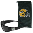 Green Bay Packers Chrome Wrap Sunglasses and Bag
