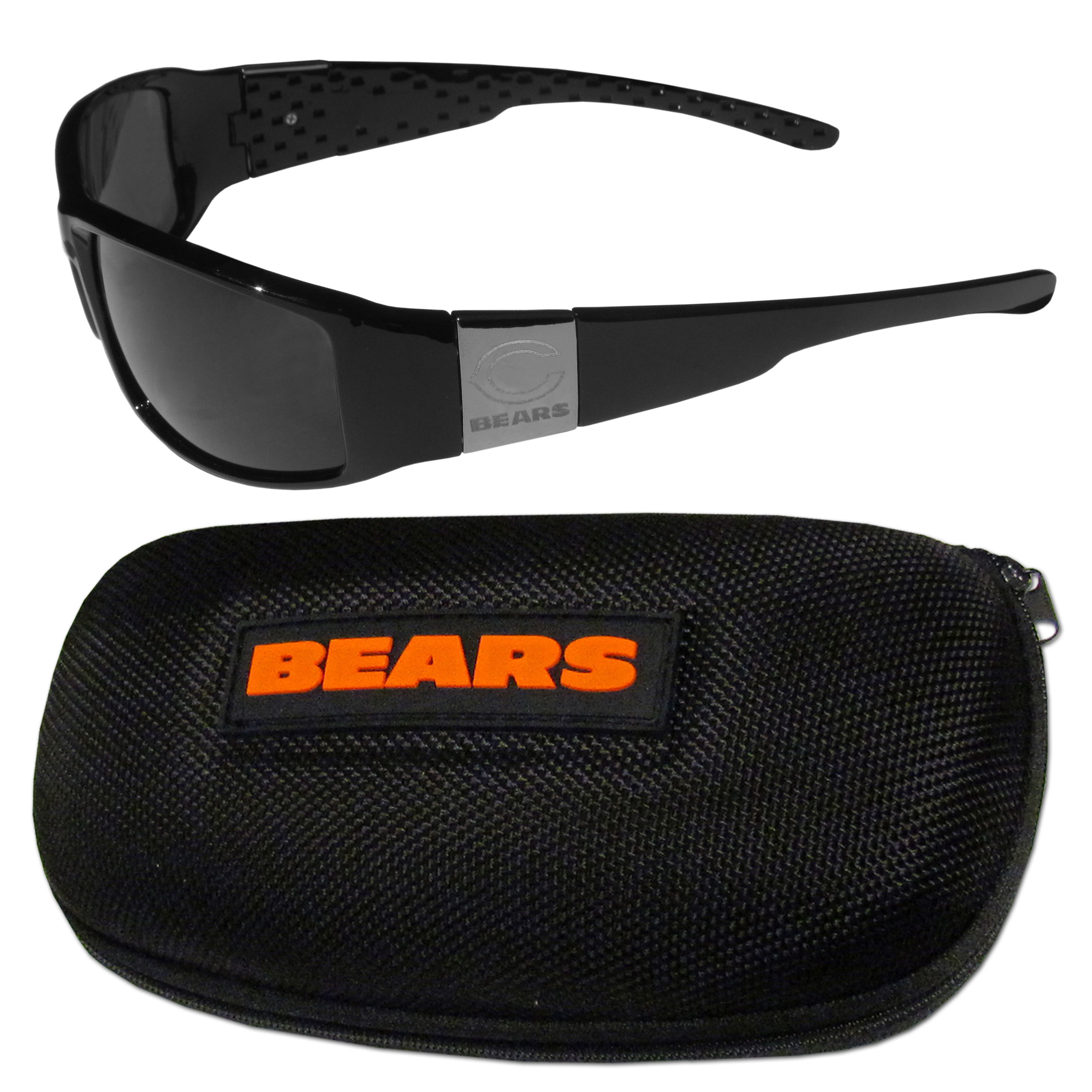 Chicago Bears Chrome Wrap Sunglasses and Zippered Carrying Case - This set includes our sleek and stylish Chicago Bears chrome wrap sunglasses and our hard shell, zippered carrying case. The sunglasses feature etched team logos on each arm and 100% UVA/UVB protection. The case features a large and colorful team emblem.