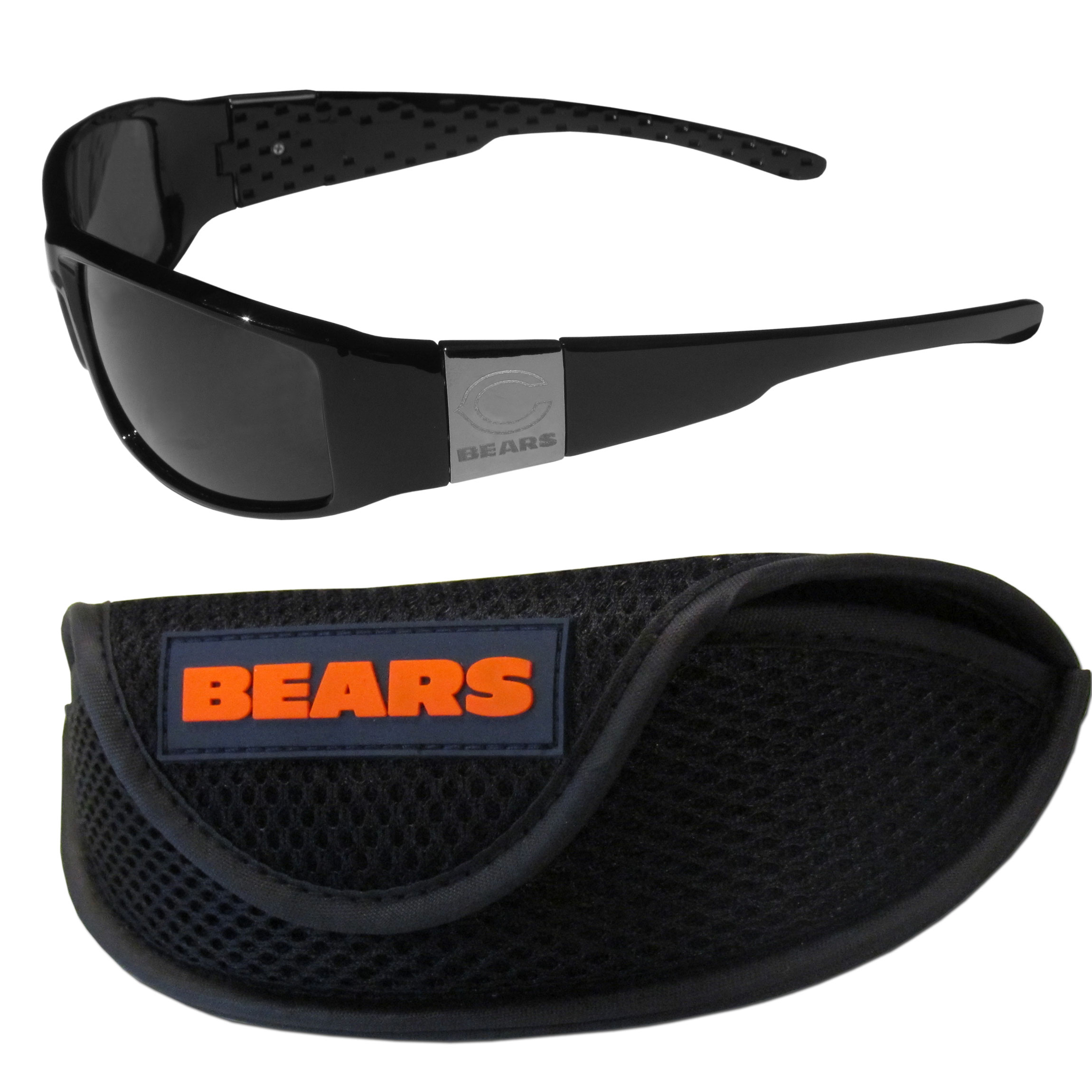 Chicago Bears Chrome Wrap Sunglasses and Sports Case - Our sleek and stylish Chicago Bears chrome wrap sunglasses and our sporty mesh case. The sunglasses feature etched team logos on each arm and 100% UVA/UVB protection. The case features a large and colorful team emblem.