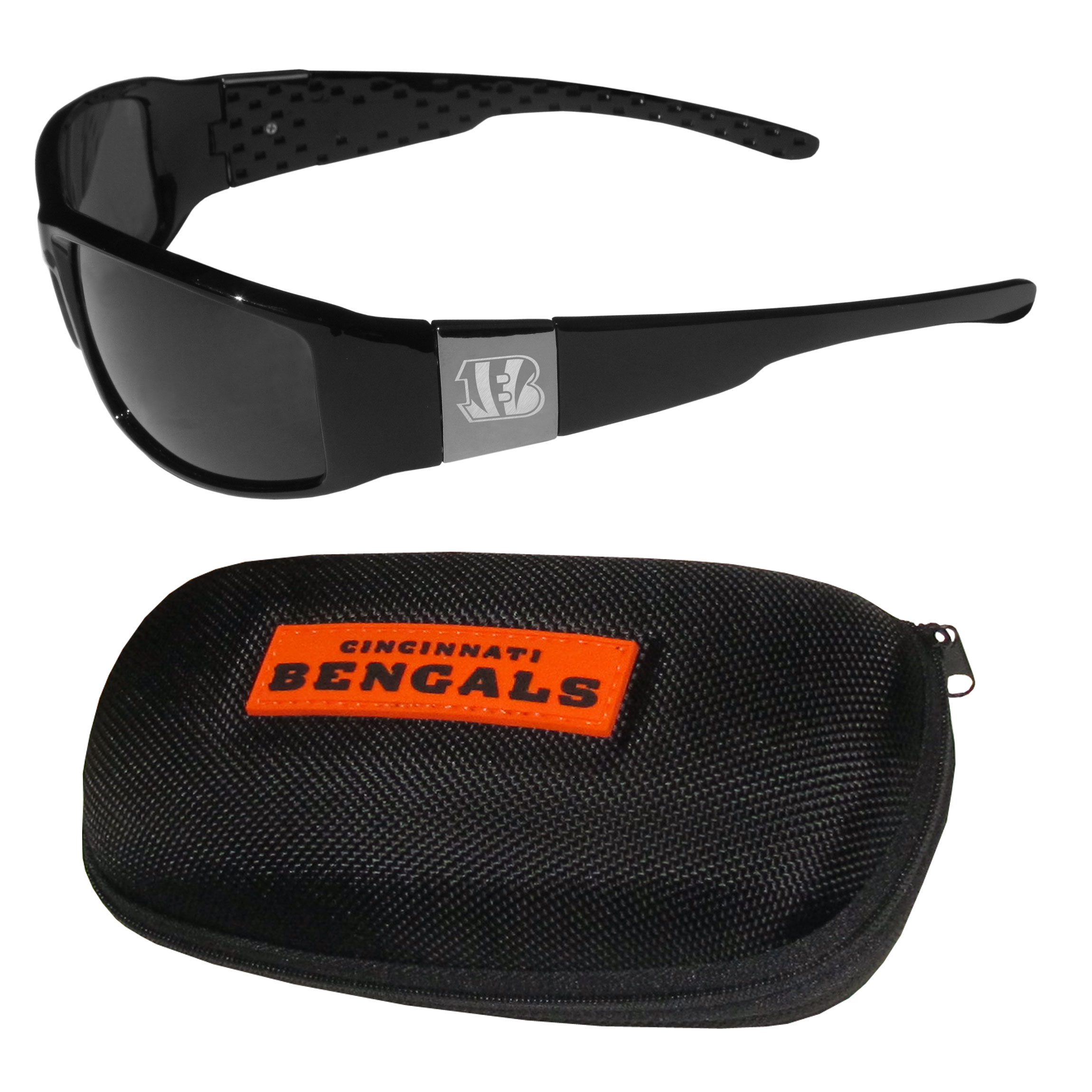 Cincinnati Bengals Chrome Wrap Sunglasses and Zippered Carrying Case - This set includes our sleek and stylish Cincinnati Bengals chrome wrap sunglasses and our hard shell, zippered carrying case. The sunglasses feature etched team logos on each arm and 100% UVA/UVB protection. The case features a large and colorful team emblem.
