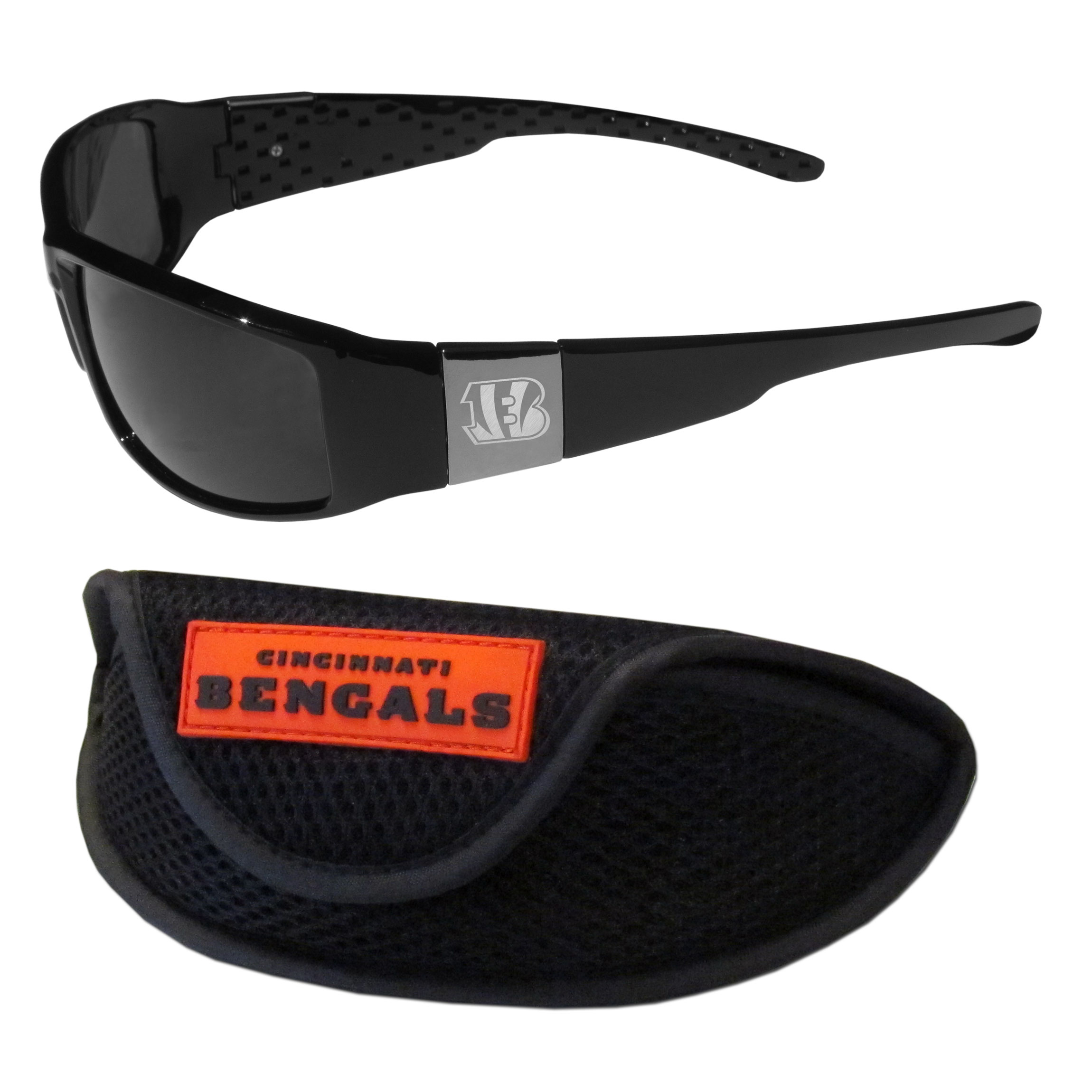 Cincinnati Bengals Chrome Wrap Sunglasses and Sports Case - Our sleek and stylish Cincinnati Bengals chrome wrap sunglasses and our sporty mesh case. The sunglasses feature etched team logos on each arm and 100% UVA/UVB protection. The case features a large and colorful team emblem.