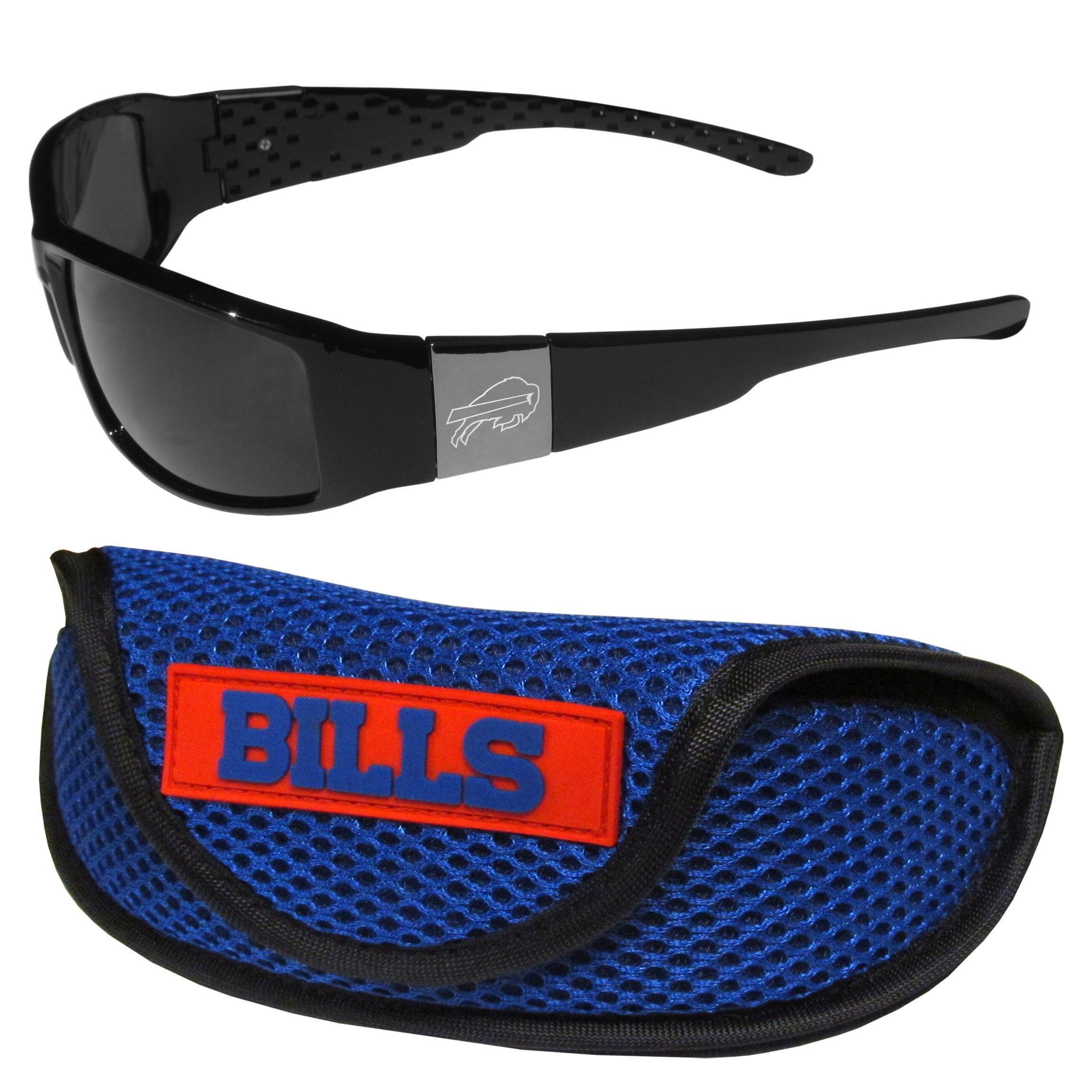 Buffalo Bills Chrome Wrap Sunglasses and Sports Case - Our sleek and stylish Buffalo Bills chrome wrap sunglasses and our sporty mesh case. The sunglasses feature etched team logos on each arm and 100% UVA/UVB protection. The case features a large and colorful team emblem.