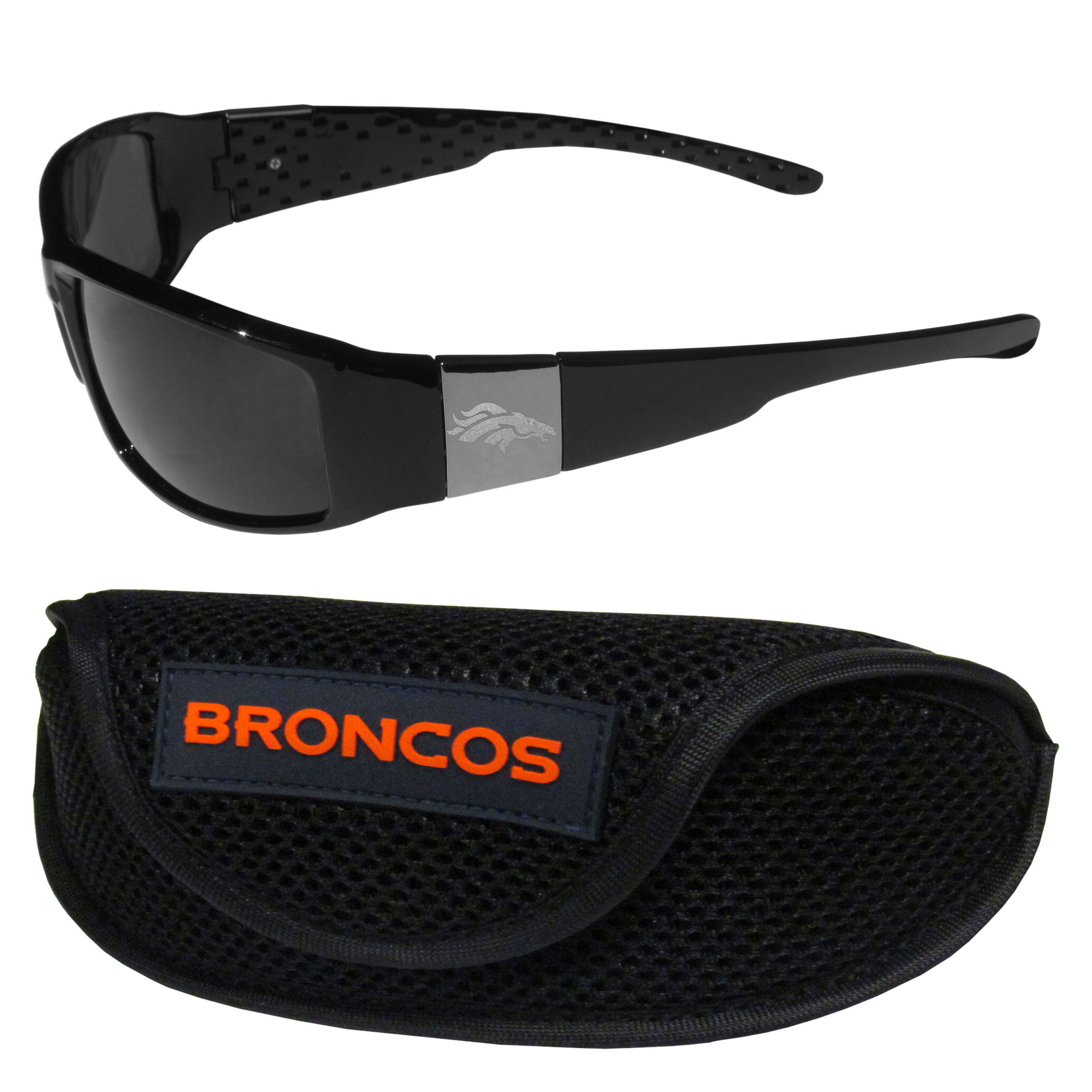 Denver Broncos Chrome Wrap Sunglasses and Sports Case - Our sleek and stylish Denver Broncos chrome wrap sunglasses and our sporty mesh case. The sunglasses feature etched team logos on each arm and 100% UVA/UVB protection. The case features a large and colorful team emblem.