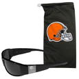 Cleveland Browns Etched Chrome Wrap Sunglasses and Bag