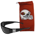 Arizona Cardinals Etched Chrome Wrap Sunglasses and Bag