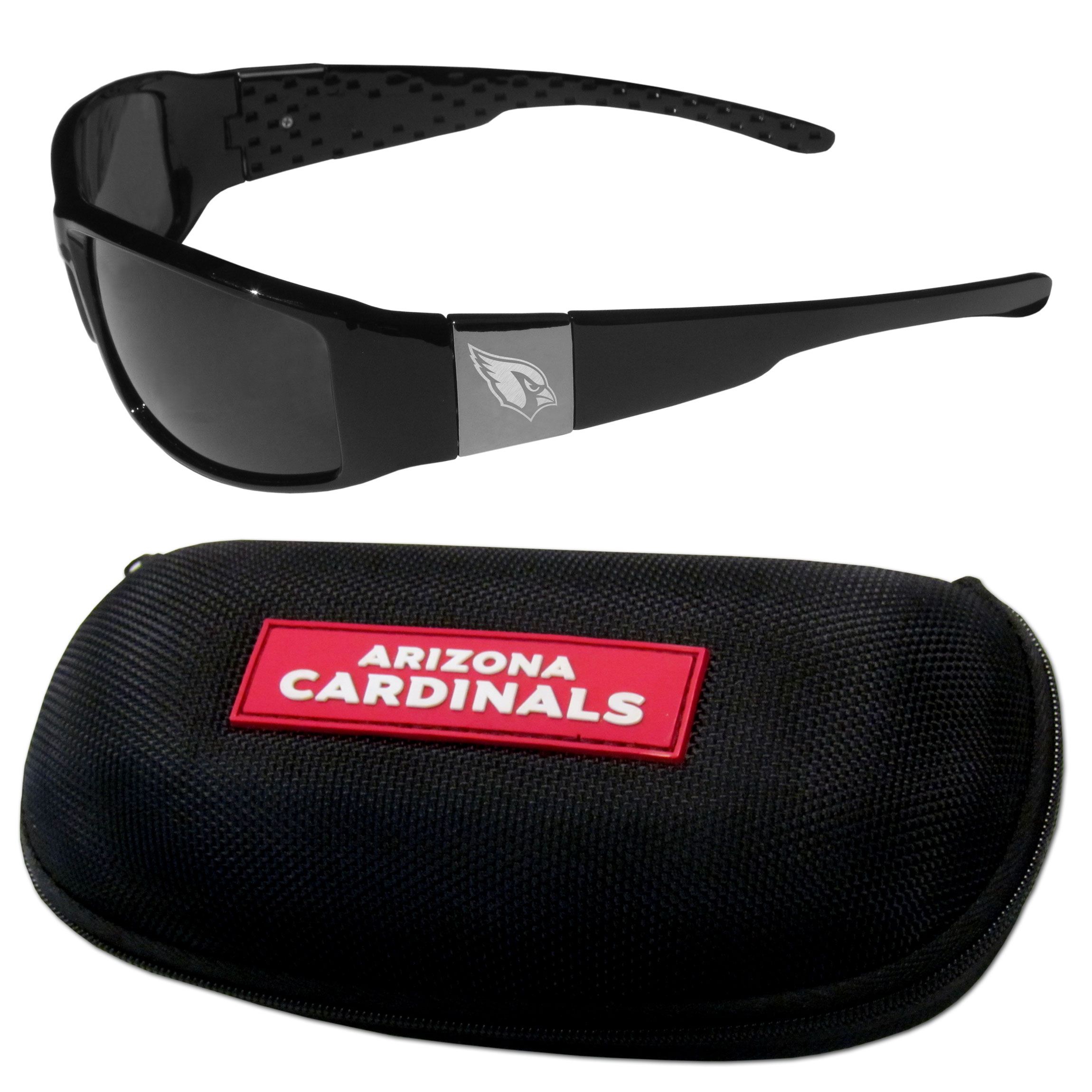 Arizona Cardinals Chrome Wrap Sunglasses and Zippered Carrying Case - This set includes our sleek and stylish Arizona Cardinals chrome wrap sunglasses and our hard shell, zippered carrying case. The sunglasses feature etched team logos on each arm and 100% UVA/UVB protection. The case features a large and colorful team emblem.