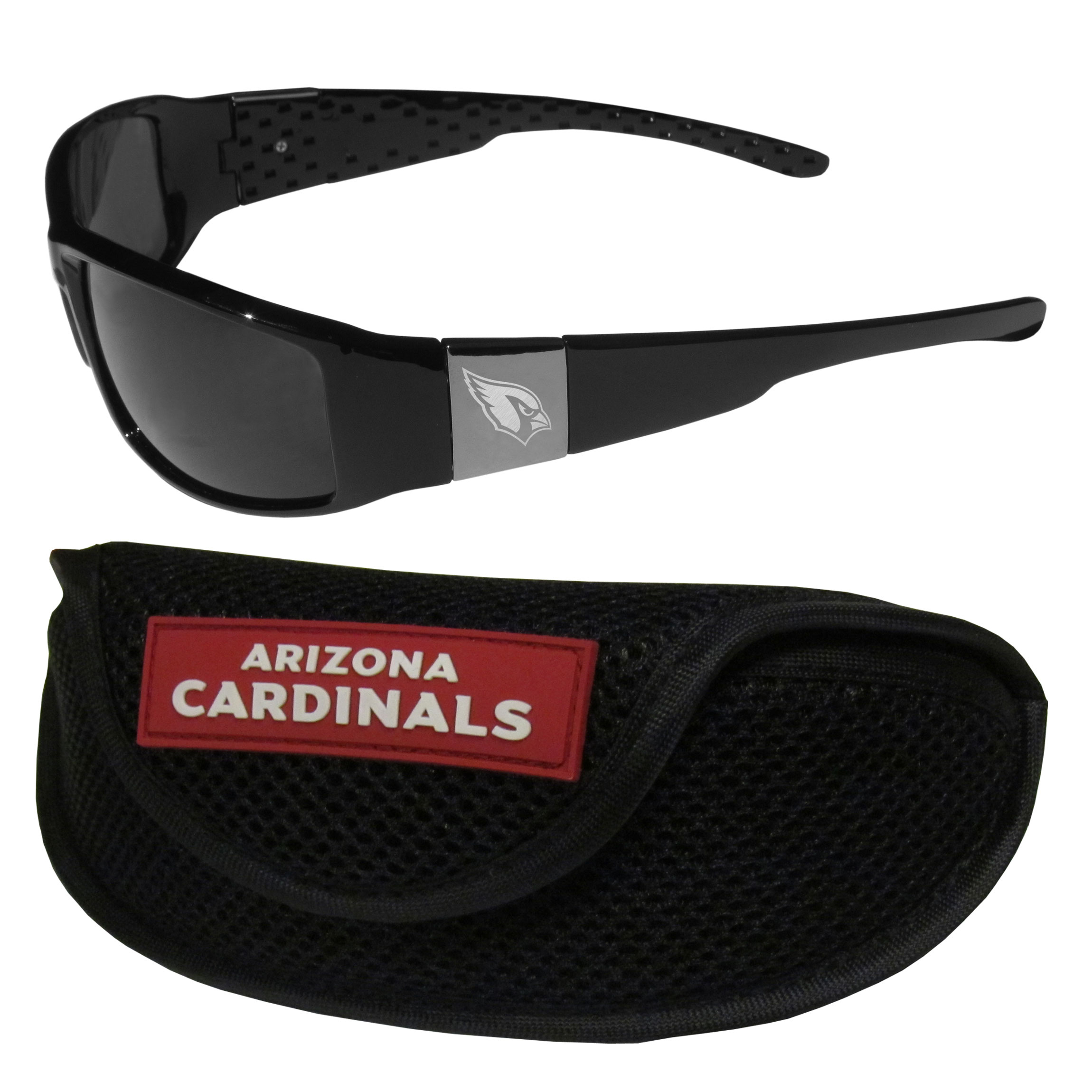 Arizona Cardinals Chrome Wrap Sunglasses and Sports Case - Our sleek and stylish Arizona Cardinals chrome wrap sunglasses and our sporty mesh case. The sunglasses feature etched team logos on each arm and 100% UVA/UVB protection. The case features a large and colorful team emblem.