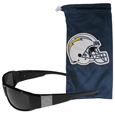 Los Angeles Chargers Etched Chrome Wrap Sunglasses and Bag