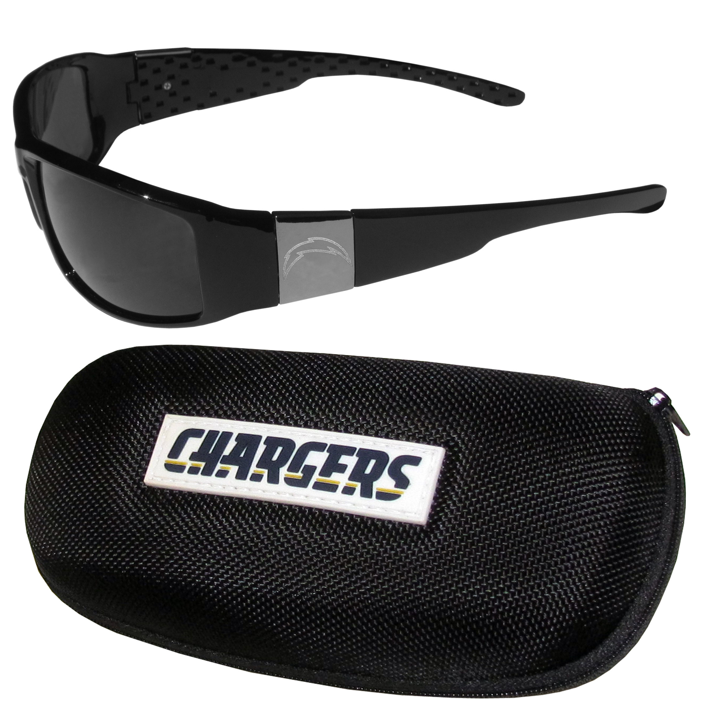 Los Angeles Chargers Chrome Wrap Sunglasses and Zippered Carrying Case - This set includes our sleek and stylish Los Angeles Chargers chrome wrap sunglasses and our hard shell, zippered carrying case. The sunglasses feature etched team logos on each arm and 100% UVA/UVB protection. The case features a large and colorful team emblem.