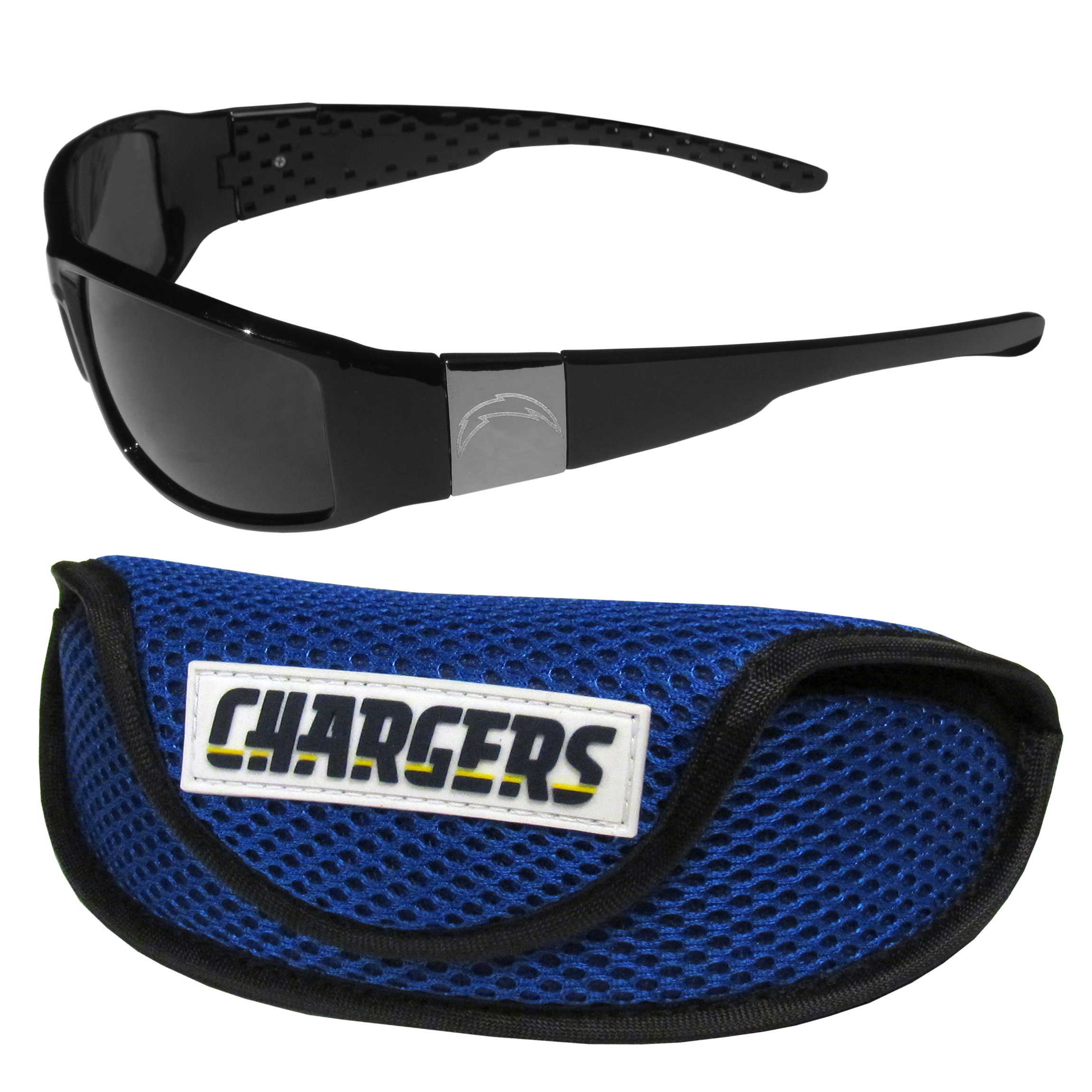 Los Angeles Chargers Chrome Wrap Sunglasses and Sports Case - Our sleek and stylish Los Angeles Chargers chrome wrap sunglasses and our sporty mesh case. The sunglasses feature etched team logos on each arm and 100% UVA/UVB protection. The case features a large and colorful team emblem.