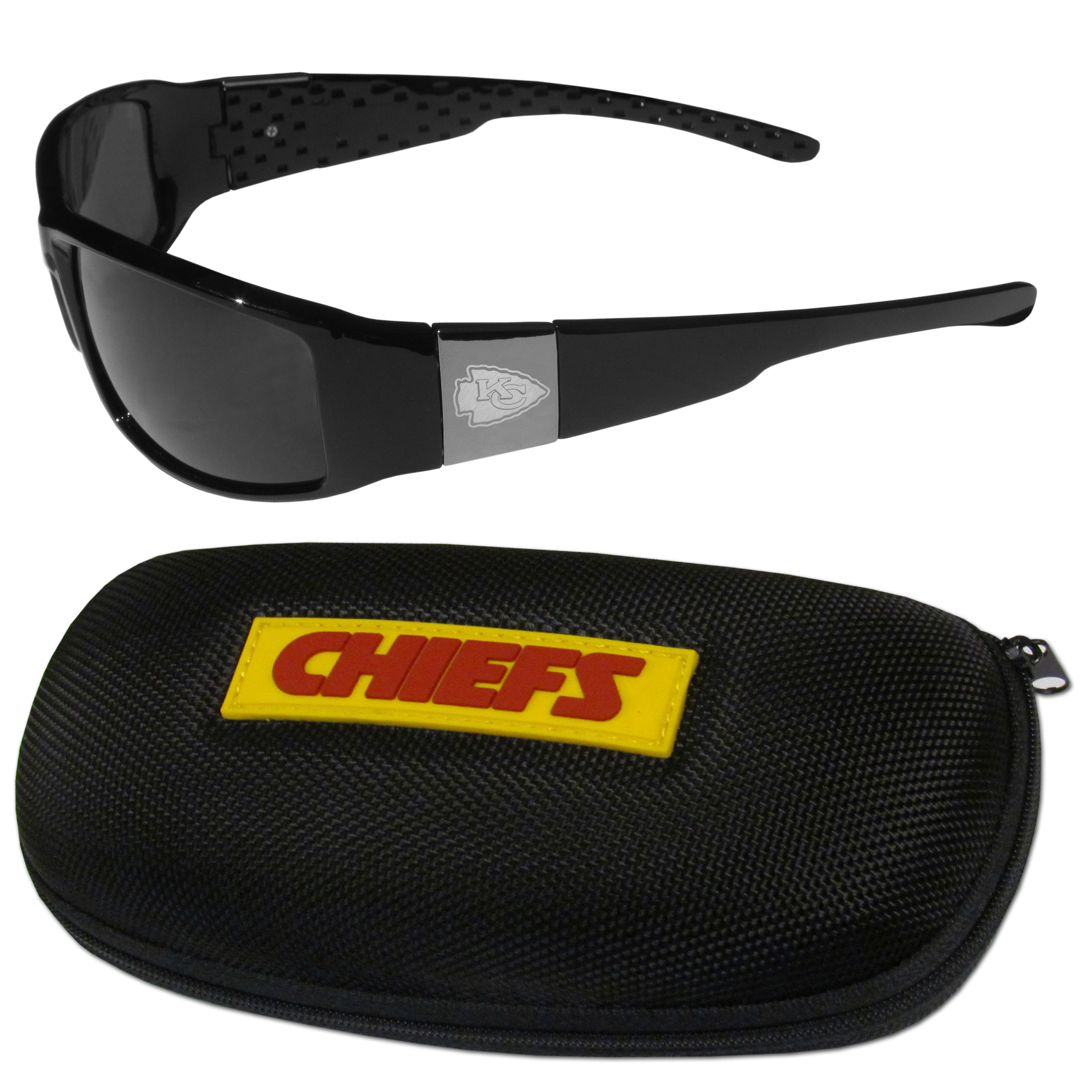 Kansas City Chiefs Chrome Wrap Sunglasses and Zippered Carrying Case - This set includes our sleek and stylish Kansas City Chiefs chrome wrap sunglasses and our hard shell, zippered carrying case. The sunglasses feature etched team logos on each arm and 100% UVA/UVB protection. The case features a large and colorful team emblem.