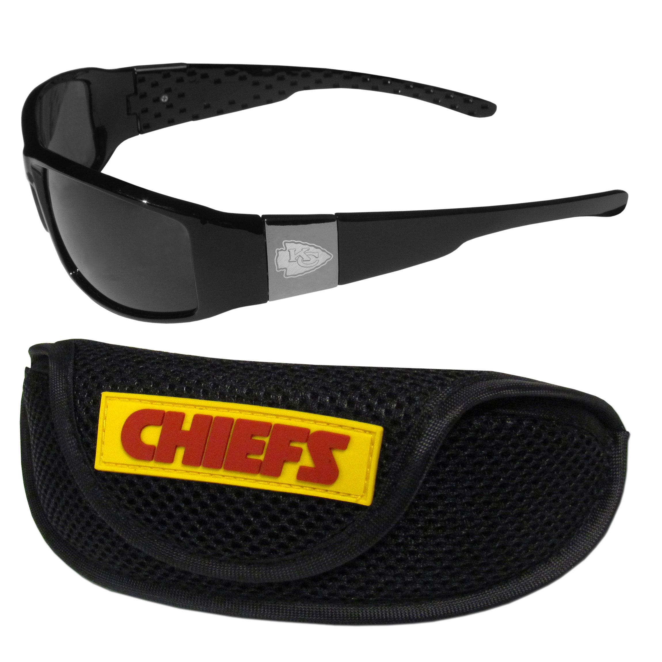 Kansas City Chiefs Chrome Wrap Sunglasses and Sports Case - Our sleek and stylish Kansas City Chiefs chrome wrap sunglasses and our sporty mesh case. The sunglasses feature etched team logos on each arm and 100% UVA/UVB protection. The case features a large and colorful team emblem.