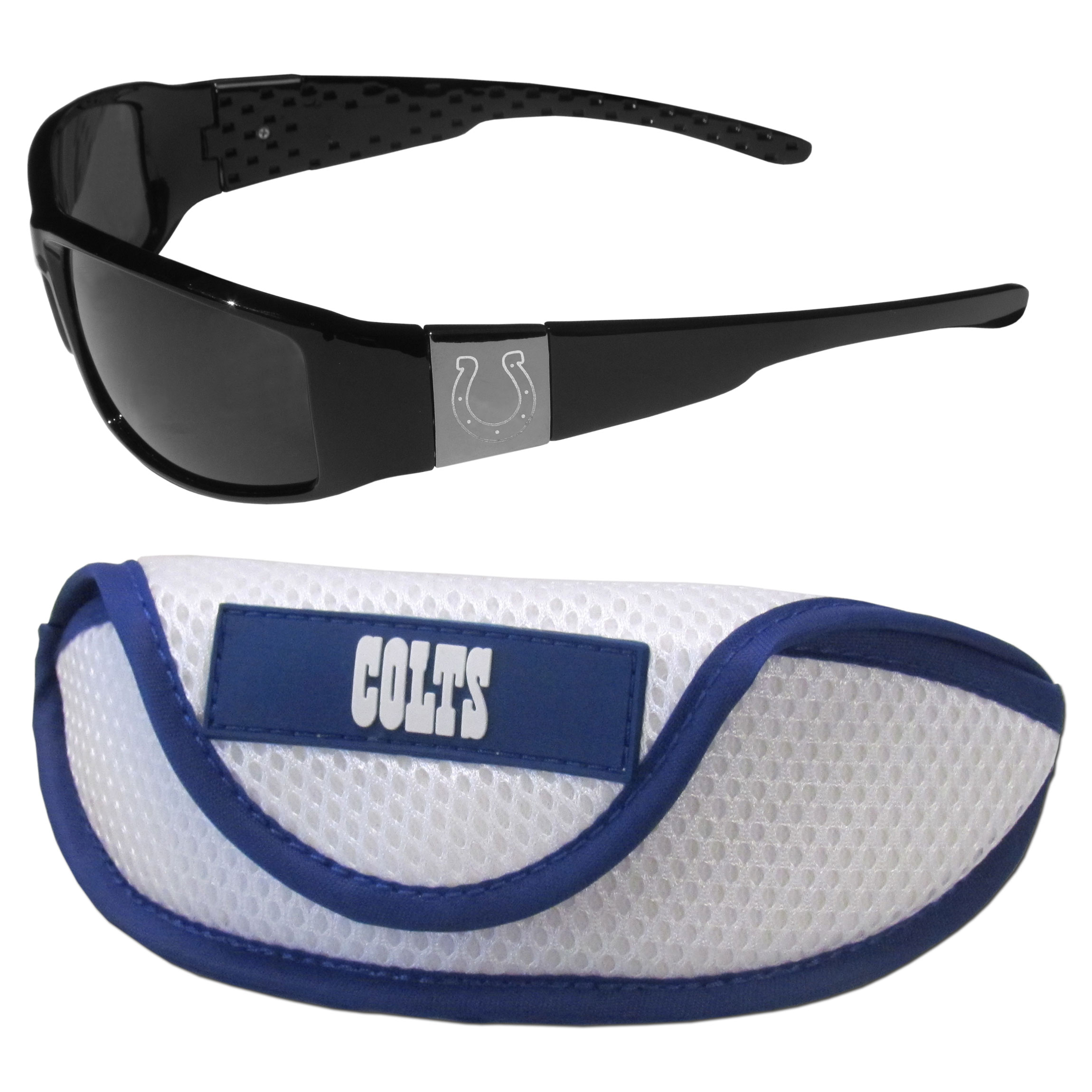 Indianapolis Colts Chrome Wrap Sunglasses and Sports Case - Our sleek and stylish Indianapolis Colts chrome wrap sunglasses and our sporty mesh case. The sunglasses feature etched team logos on each arm and 100% UVA/UVB protection. The case features a large and colorful team emblem.
