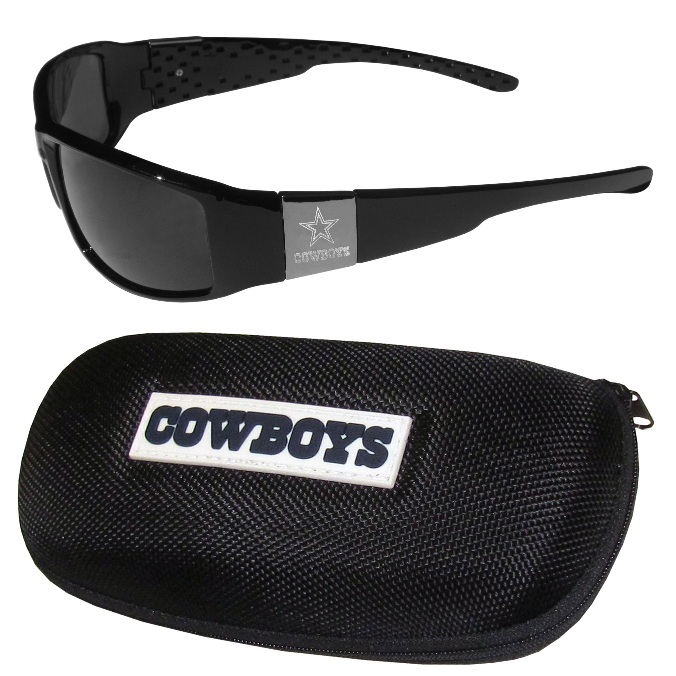 Dallas Cowboys Chrome Wrap Sunglasses and Zippered Carrying Case - This set includes our sleek and stylish Dallas Cowboys chrome wrap sunglasses and our hard shell, zippered carrying case. The sunglasses feature etched team logos on each arm and 100% UVA/UVB protection. The case features a large and colorful team emblem.