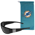 Miami Dolphins Etched Chrome Wrap Sunglasses and Bag
