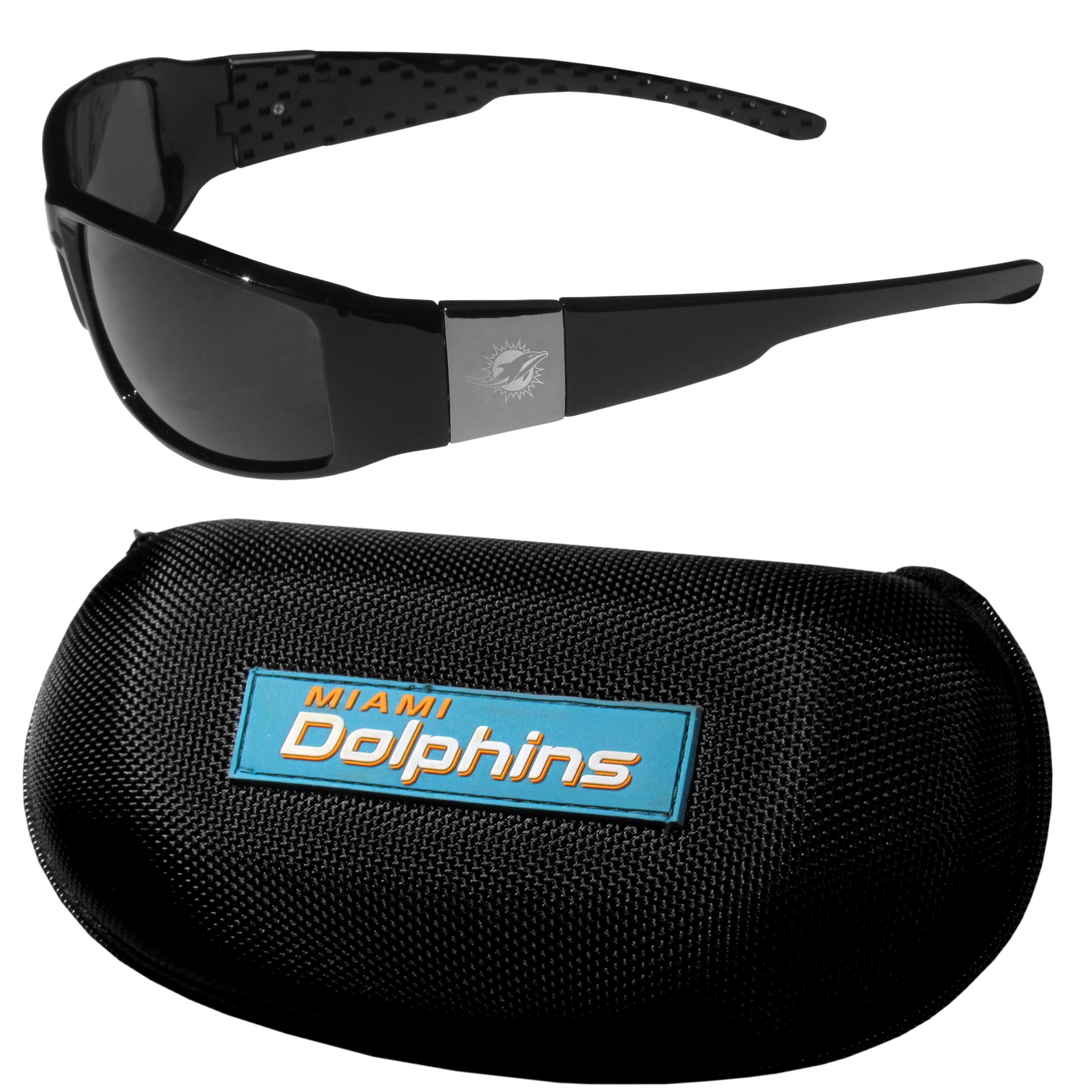 Miami Dolphins Chrome Wrap Sunglasses and Zippered Carrying Case - This set includes our sleek and stylish Miami Dolphins chrome wrap sunglasses and our hard shell, zippered carrying case. The sunglasses feature etched team logos on each arm and 100% UVA/UVB protection. The case features a large and colorful team emblem.
