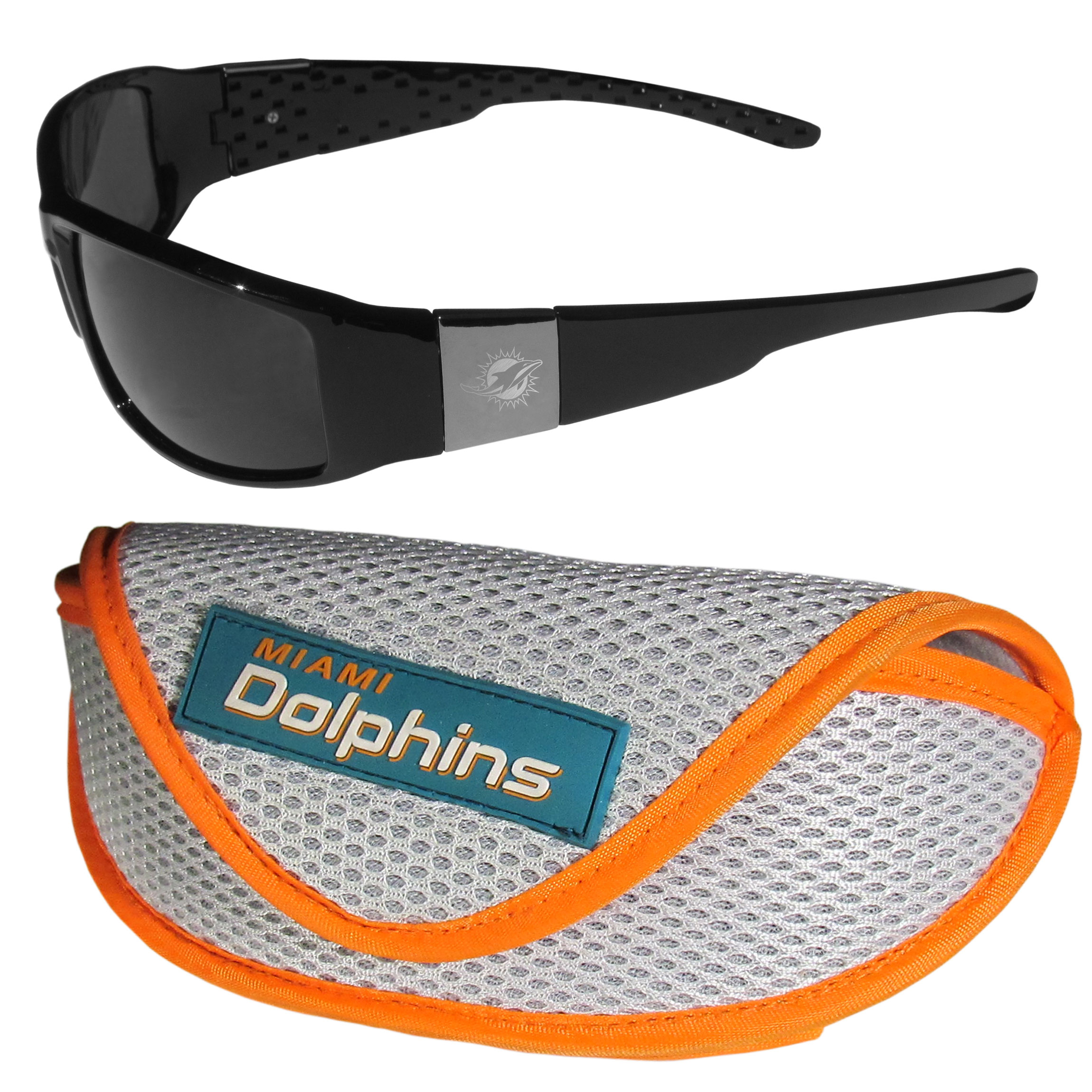 Miami Dolphins Chrome Wrap Sunglasses and Sports Case - Our sleek and stylish Miami Dolphins chrome wrap sunglasses and our sporty mesh case. The sunglasses feature etched team logos on each arm and 100% UVA/UVB protection. The case features a large and colorful team emblem.
