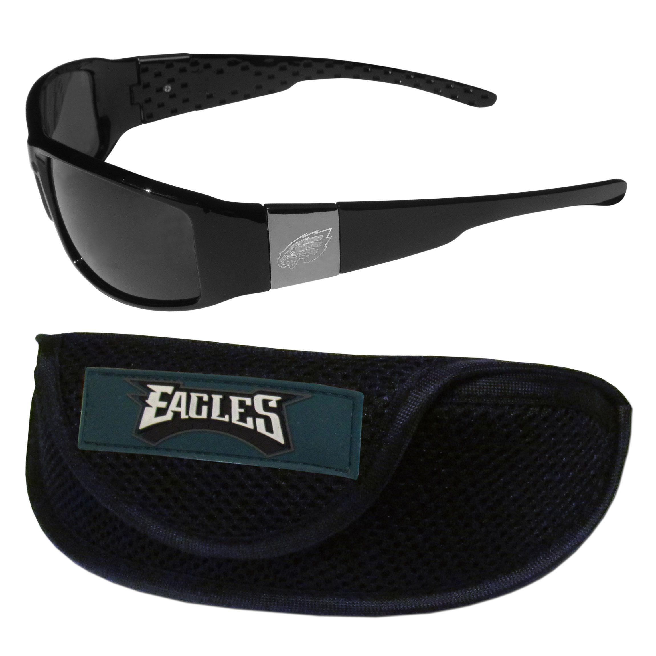Philadelphia Eagles Chrome Wrap Sunglasses and Sports Case - Our sleek and stylish Philadelphia Eagles chrome wrap sunglasses and our sporty mesh case. The sunglasses feature etched team logos on each arm and 100% UVA/UVB protection. The case features a large and colorful team emblem.