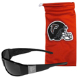 Atlanta Falcons Etched Chrome Wrap Sunglasses and Bag