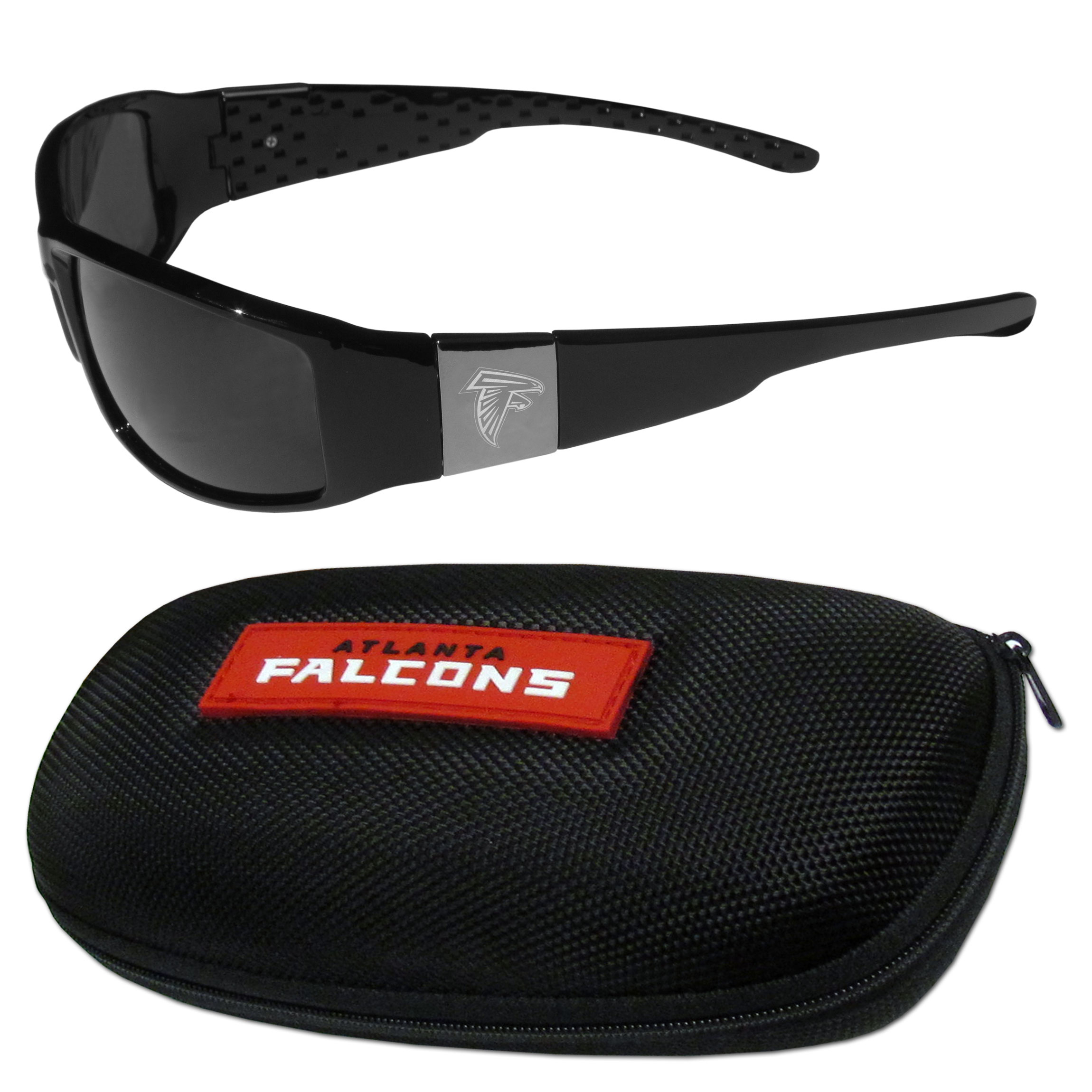 Atlanta Falcons Chrome Wrap Sunglasses and Zippered Carrying Case - This set includes our sleek and stylish Atlanta Falcons chrome wrap sunglasses and our hard shell, zippered carrying case. The sunglasses feature etched team logos on each arm and 100% UVA/UVB protection. The case features a large and colorful team emblem.