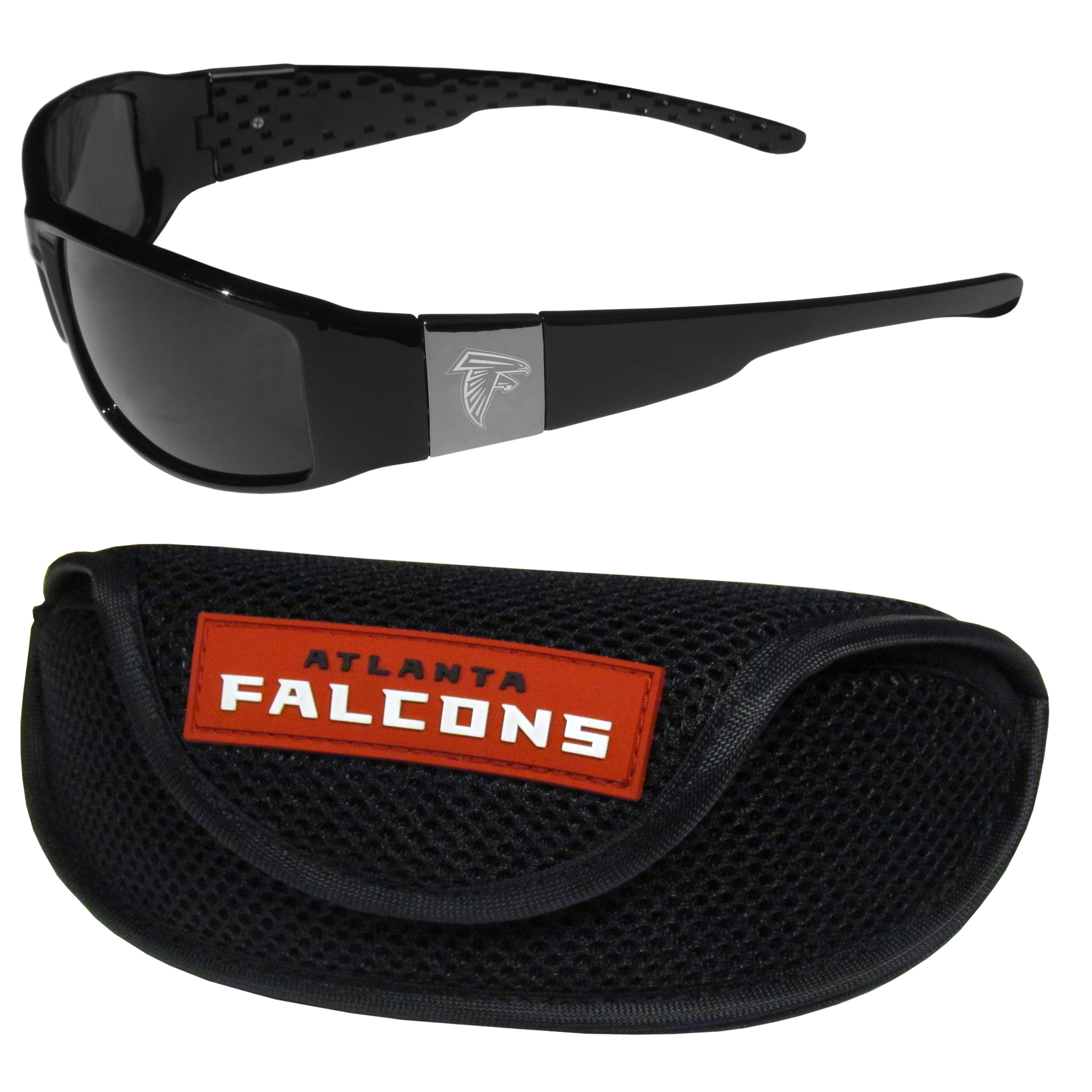 Atlanta Falcons Chrome Wrap Sunglasses and Sports Case - Our sleek and stylish Atlanta Falcons chrome wrap sunglasses and our sporty mesh case. The sunglasses feature etched team logos on each arm and 100% UVA/UVB protection. The case features a large and colorful team emblem.