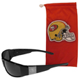 San Francisco 49ers Etched Chrome Wrap Sunglasses and Bag
